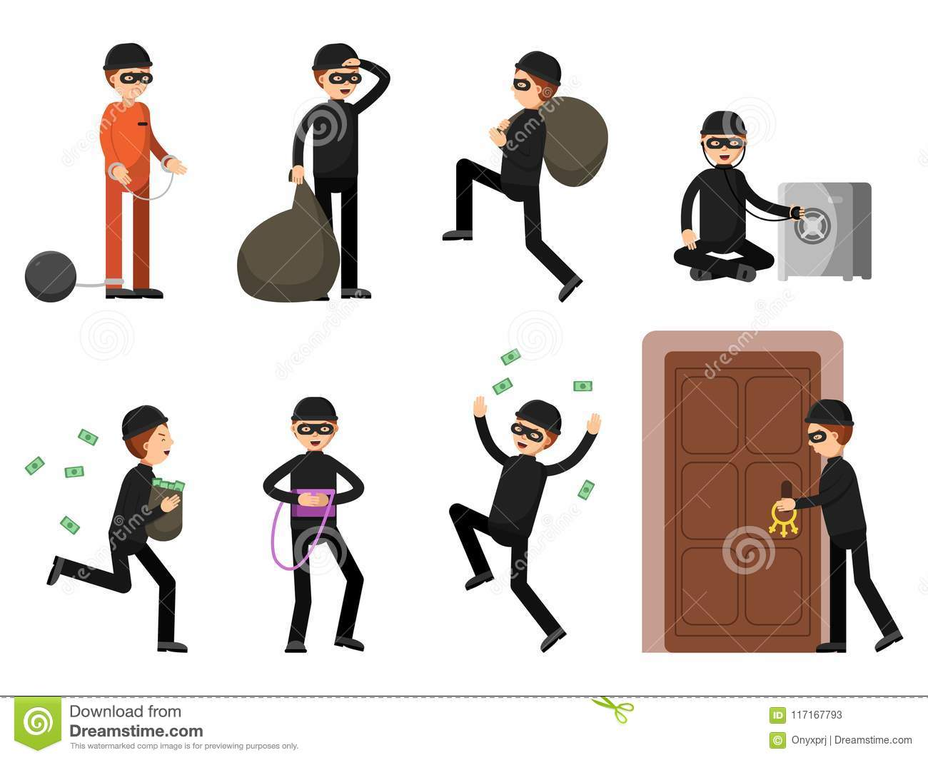 dd0f6cbfa98 Criminal illustrations of theif characters in different action poses.  Burglar male