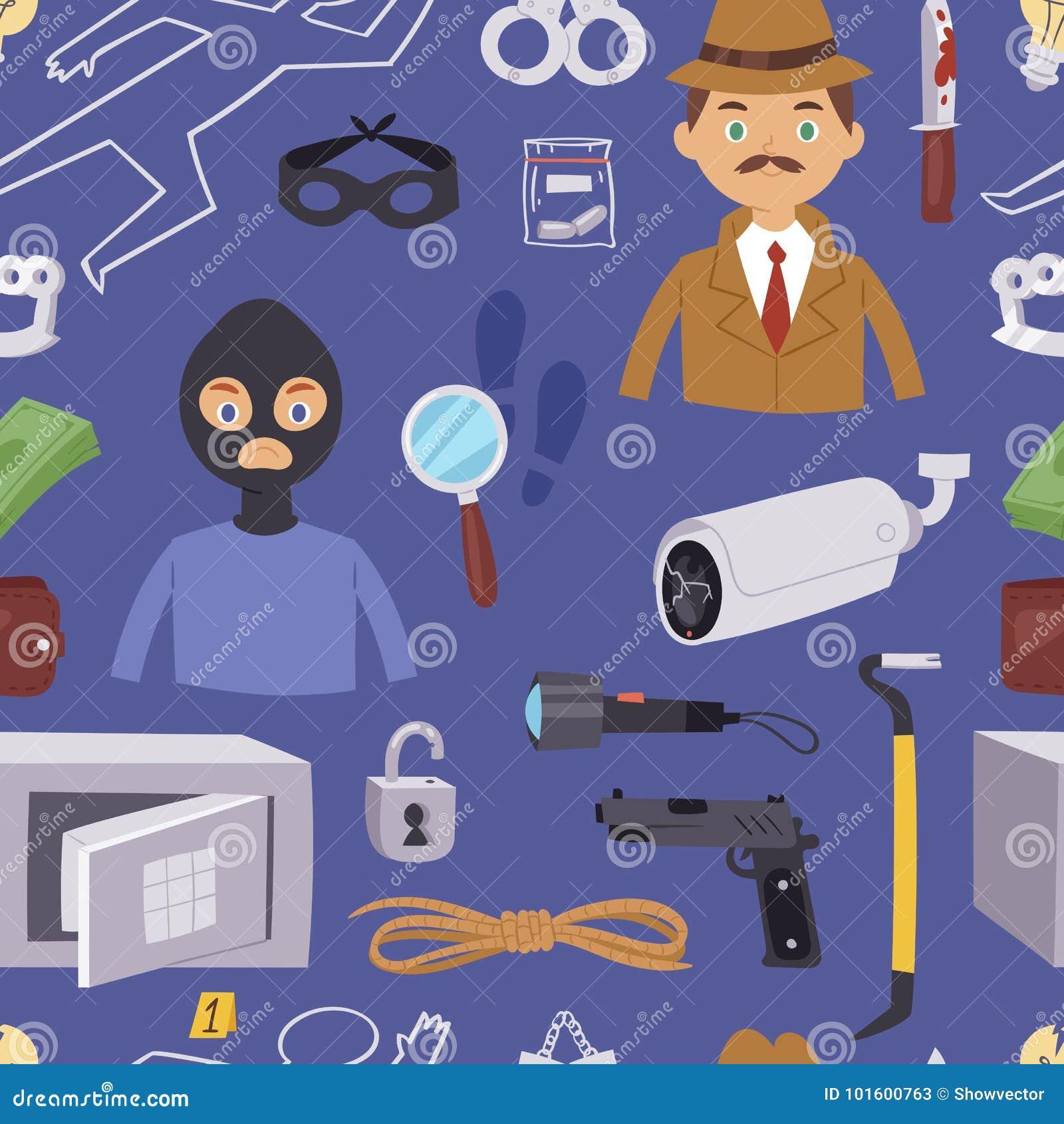 Cartoon Detective Characters Cartoon Vector