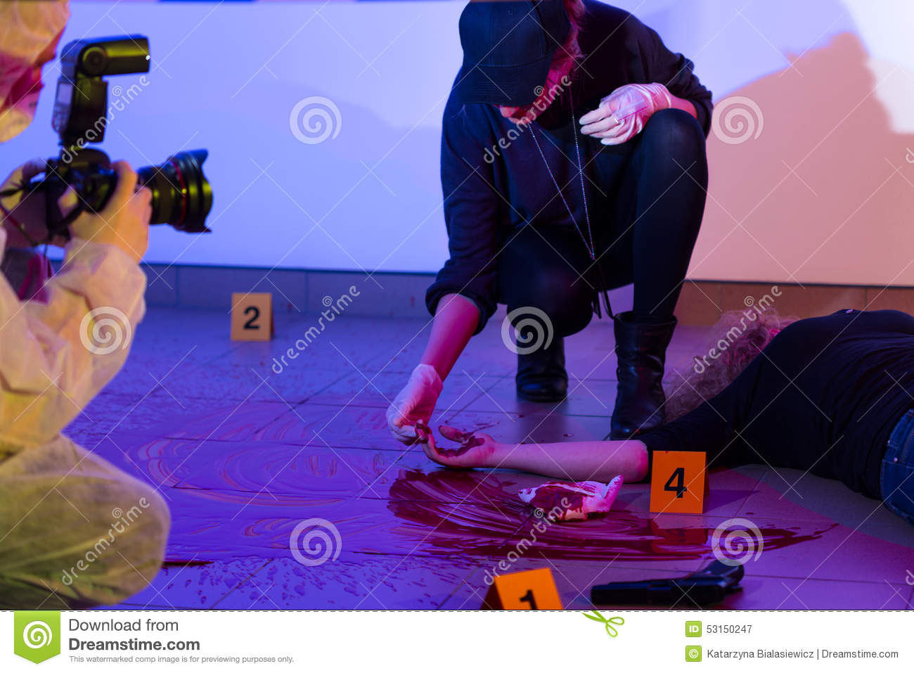 Criminalist working on a crime scene