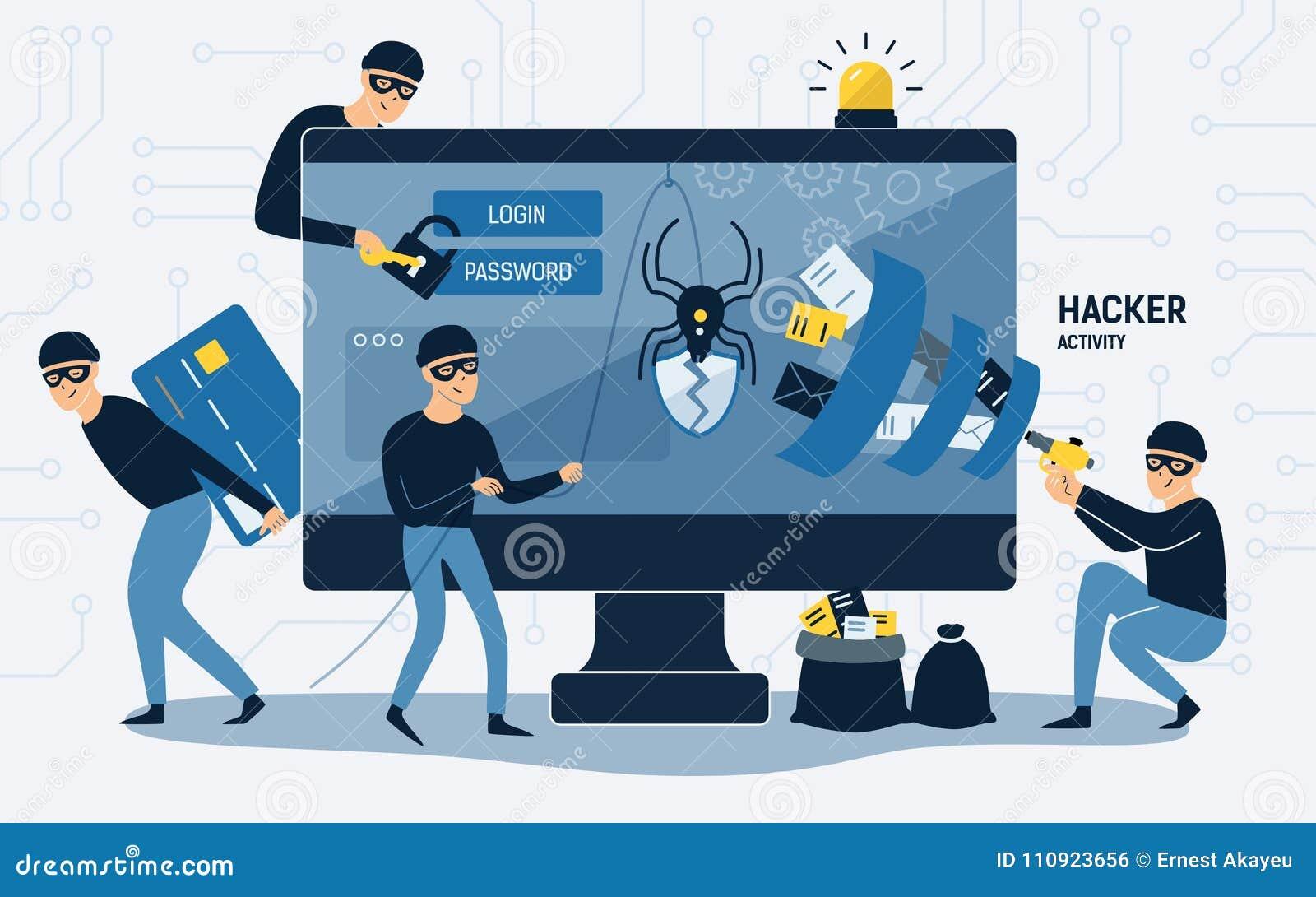 Criminels, cambrioleurs ou biscuits portant les chapeaux noirs, les masques et les vêtements volant l information personnelle à p