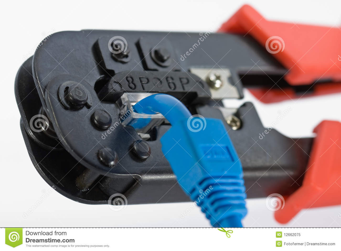 crimping tool with rj45 jack royalty free stock photo image 12662075. Black Bedroom Furniture Sets. Home Design Ideas