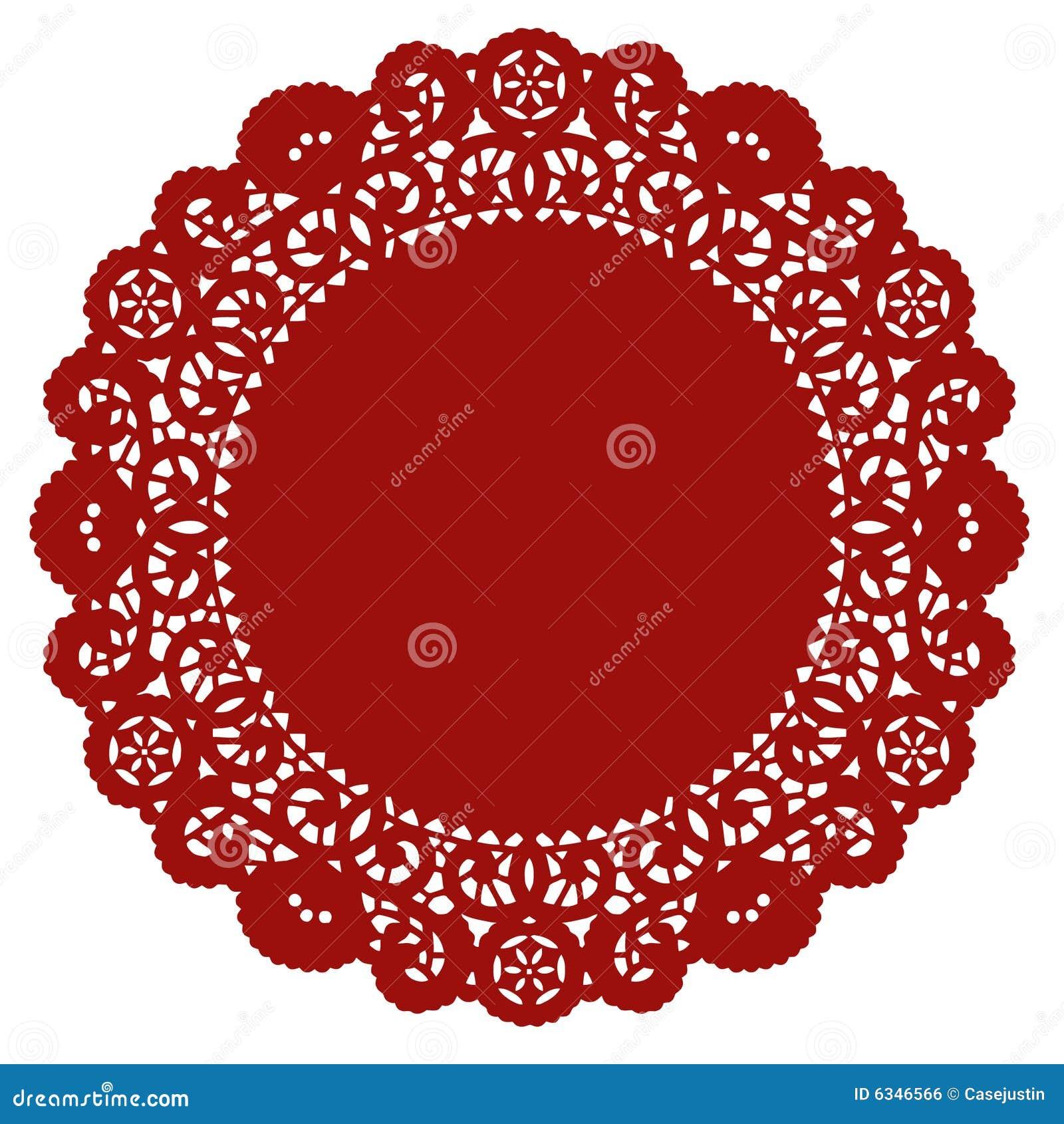 Crimson doily lace round