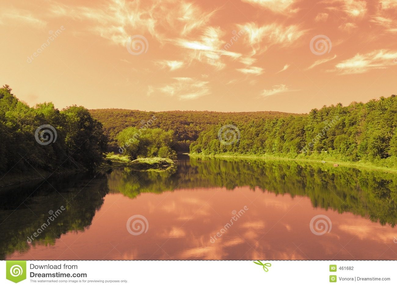 Crimson sky reflection