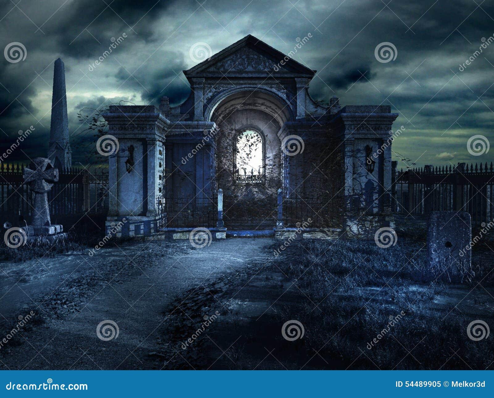 Cripta Del Cementerio En La Noche Stock de ilustración - Ilustración de  ilustraciones, noche: 54489905