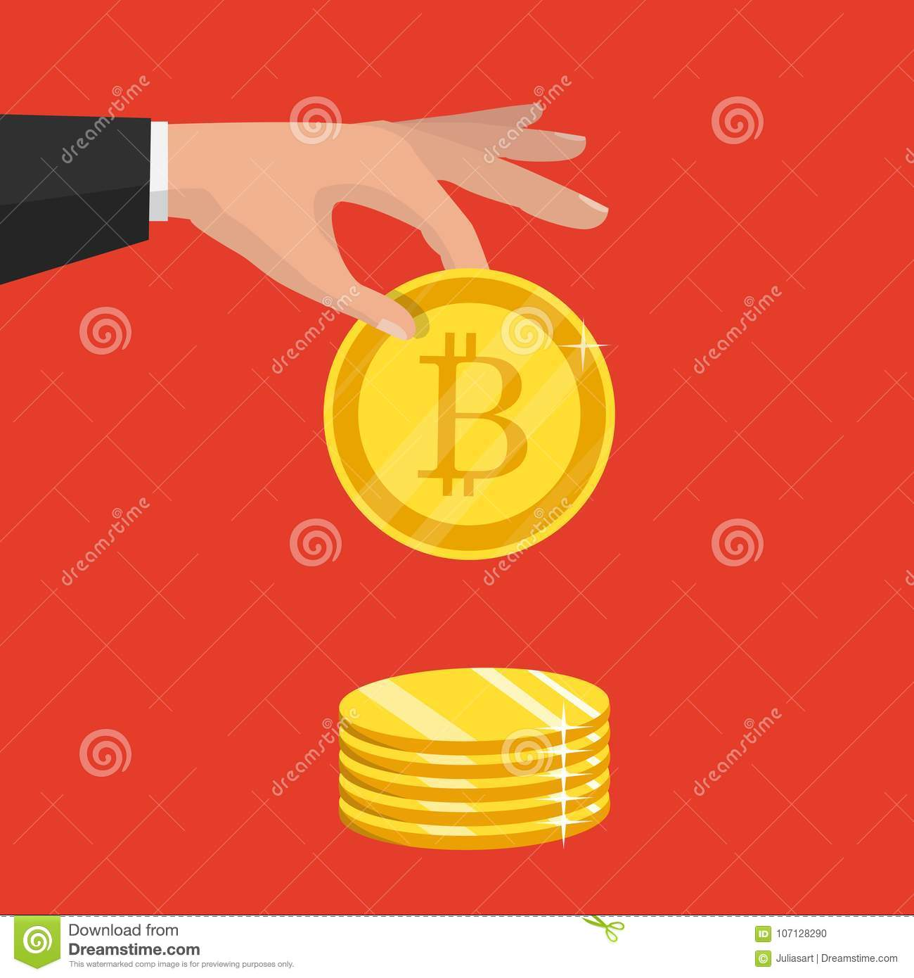 Cripto Currency Golden Bitcoin Sign Icon Flat Network M Stock