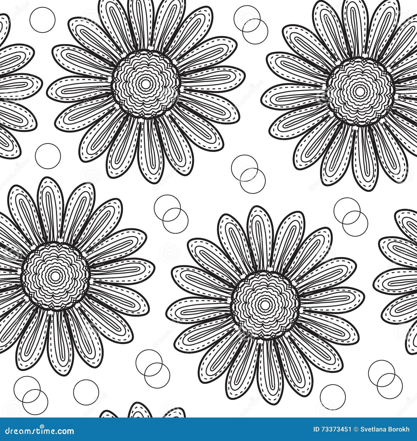 Crisântemo sem emenda floral do teste padrão, ao estilo do desenho da mão Flores preto e branco Ilustração do vetor