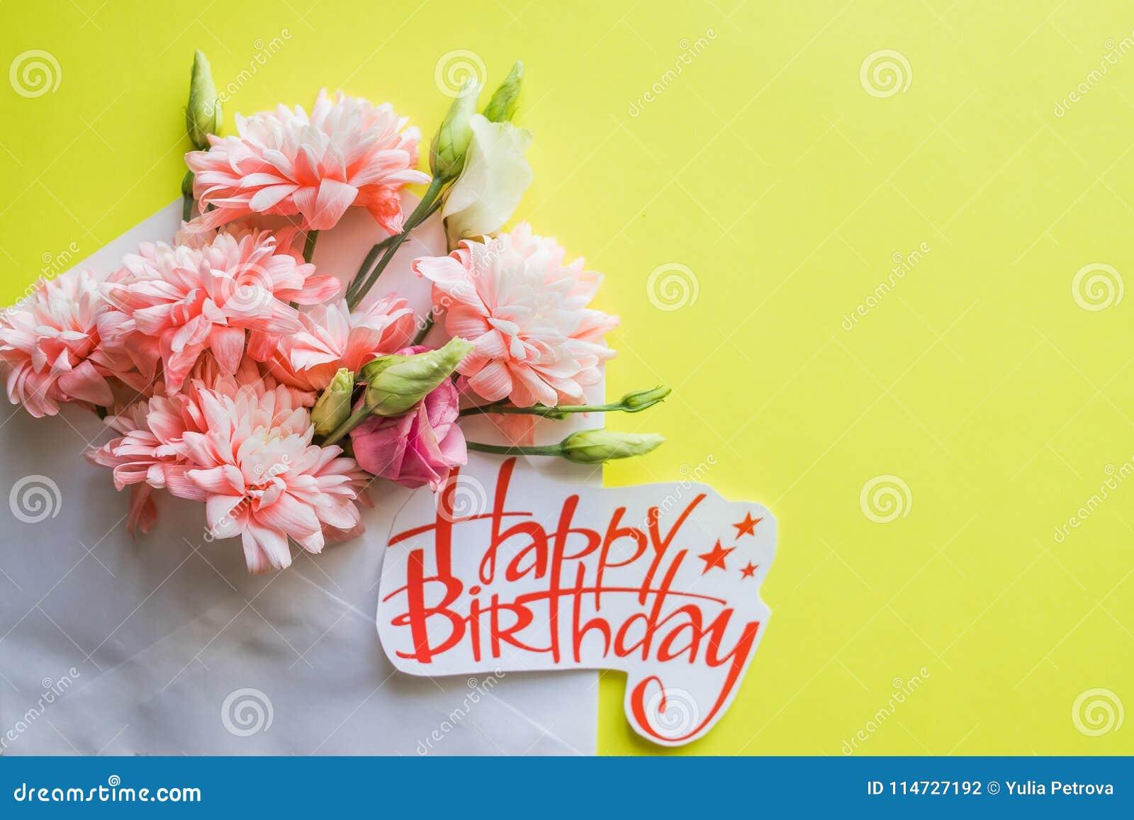 Crisantemi Rosa Molli E Manifesto Di Buon Compleanno Bei Fiori