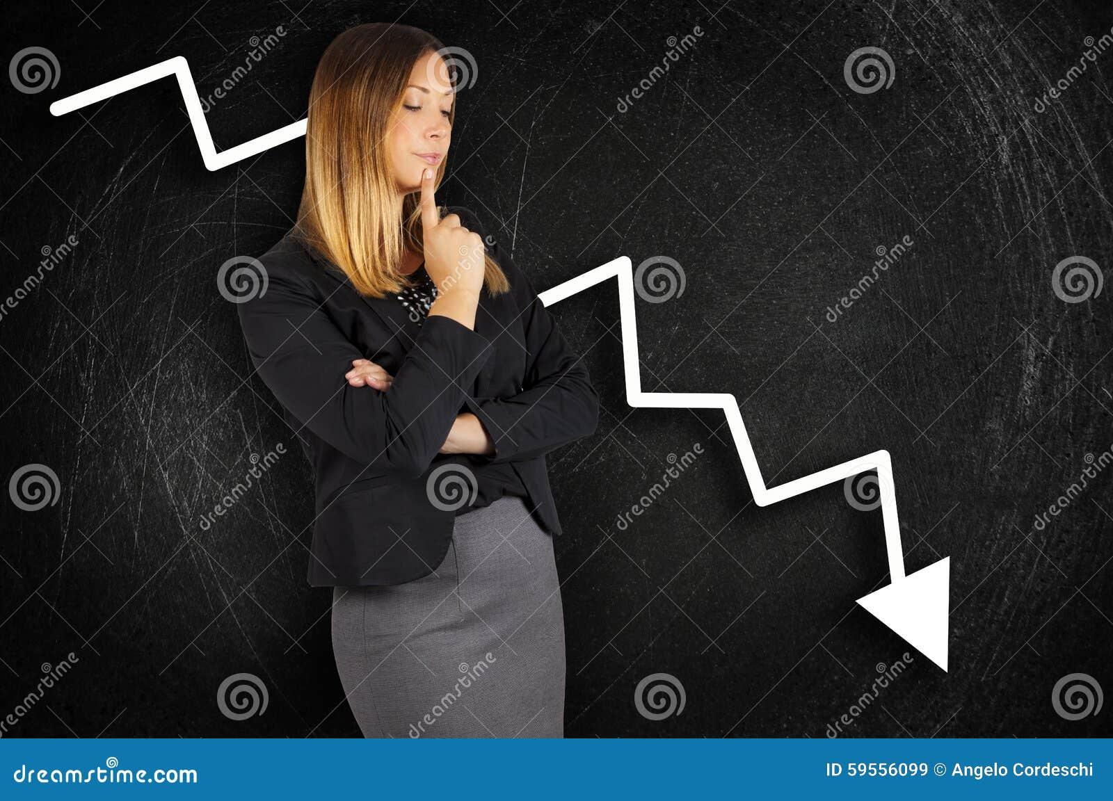 Crisis. Chart loss. Business woman worried