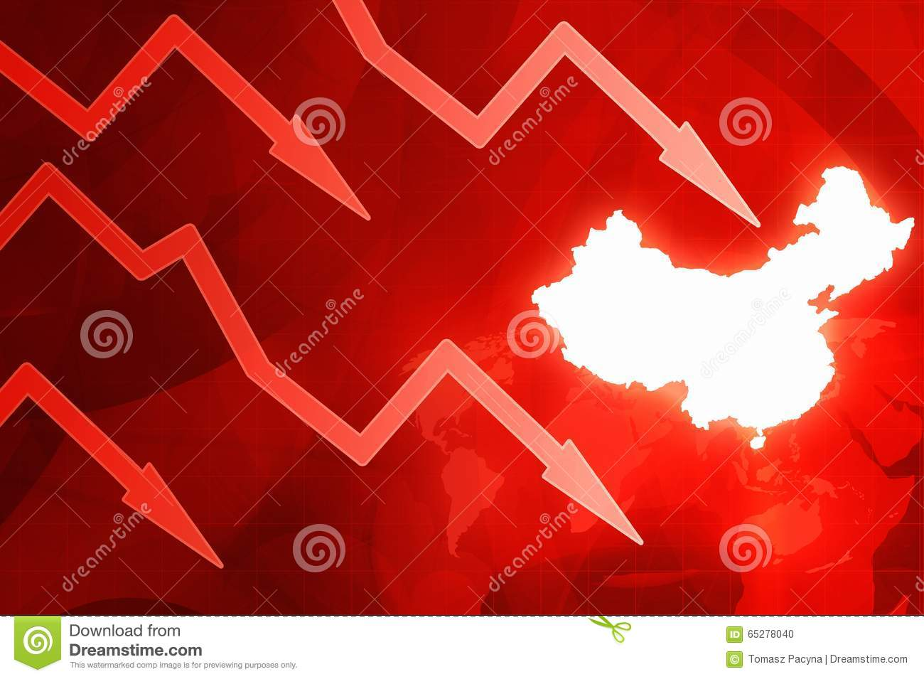 Crisis In China Red Arrows Concept News Background Illustration