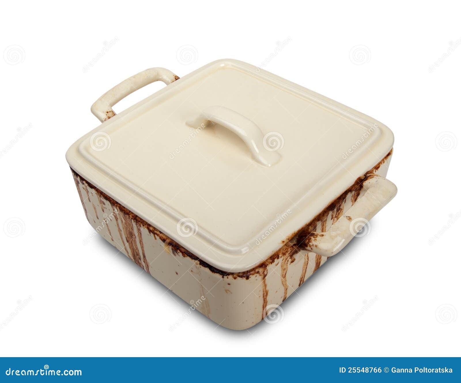 Crisol de cerámica sucio para la estufa