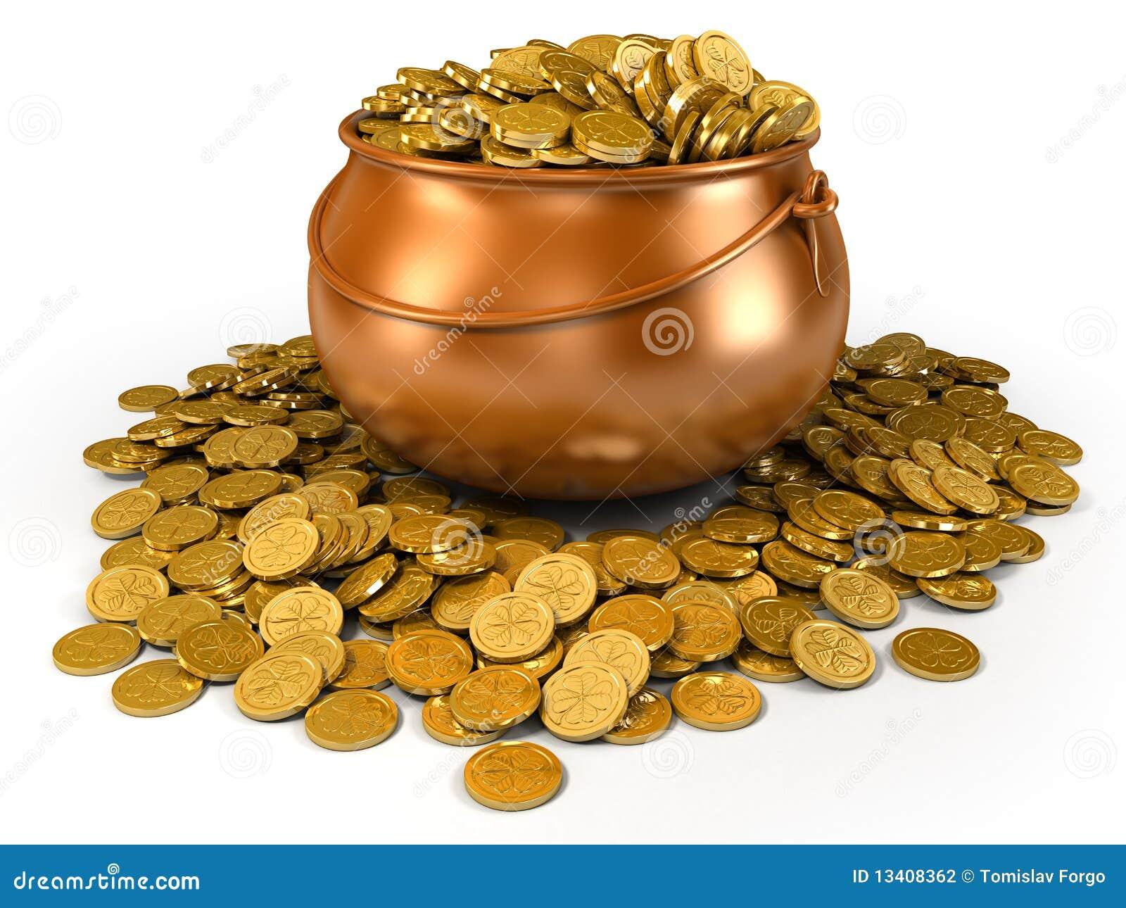 Crisol Por Completo De Monedas De Oro