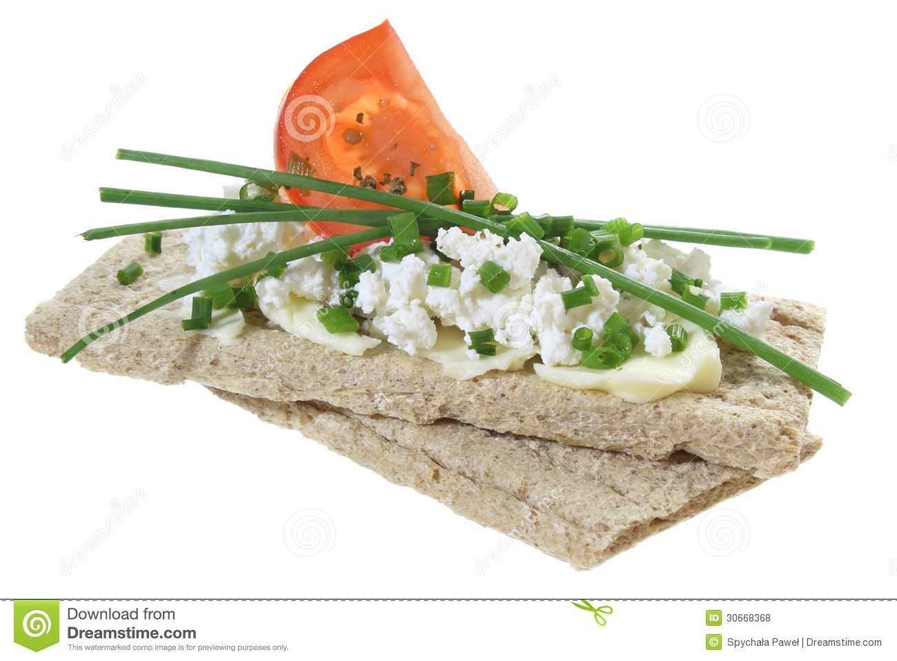 Crisp Bread With Cottage Cheese Tomato And Chives Stock ...