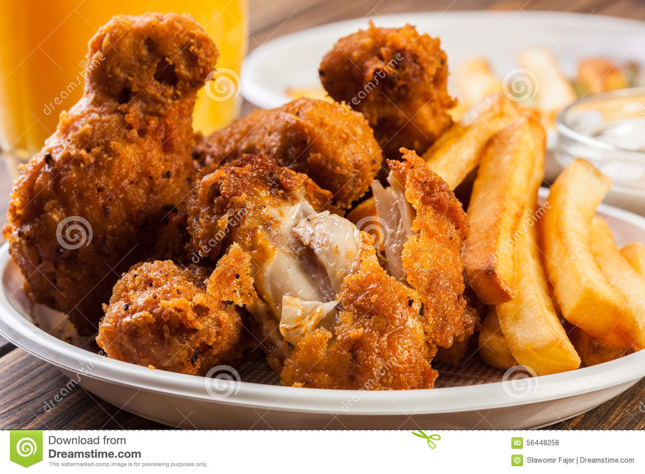 image Chicken wings and chips