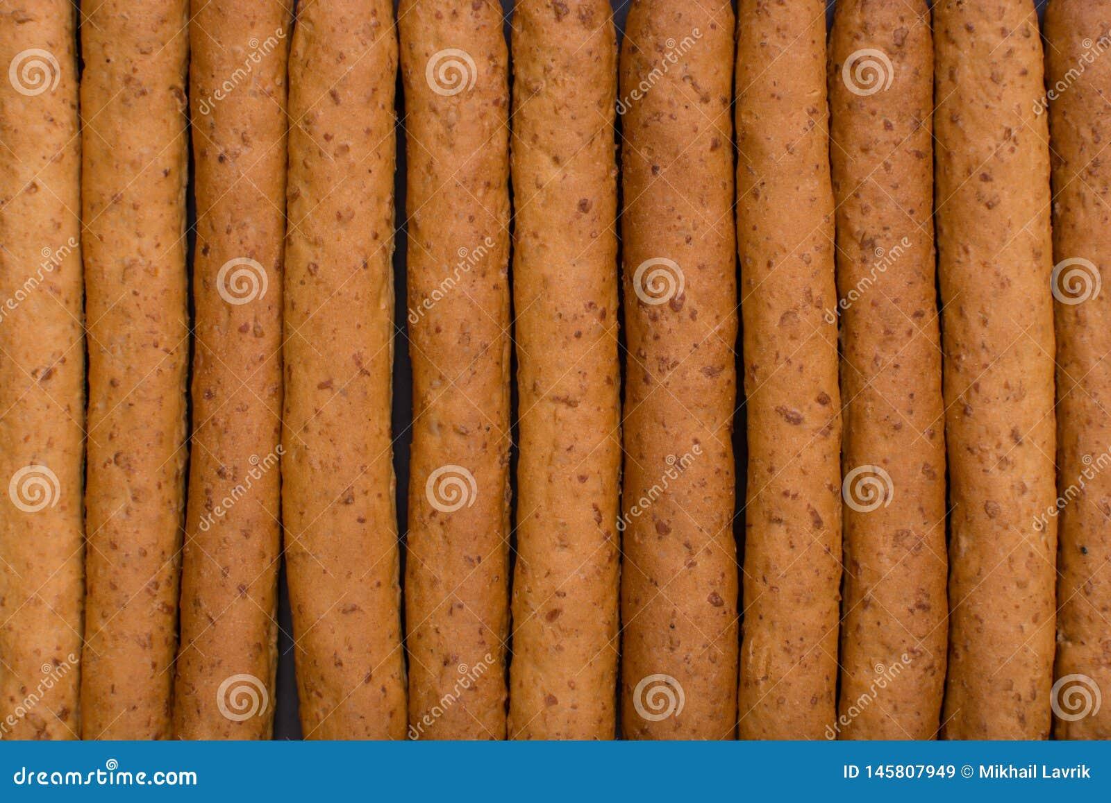 Crispy bread sticks. Top view