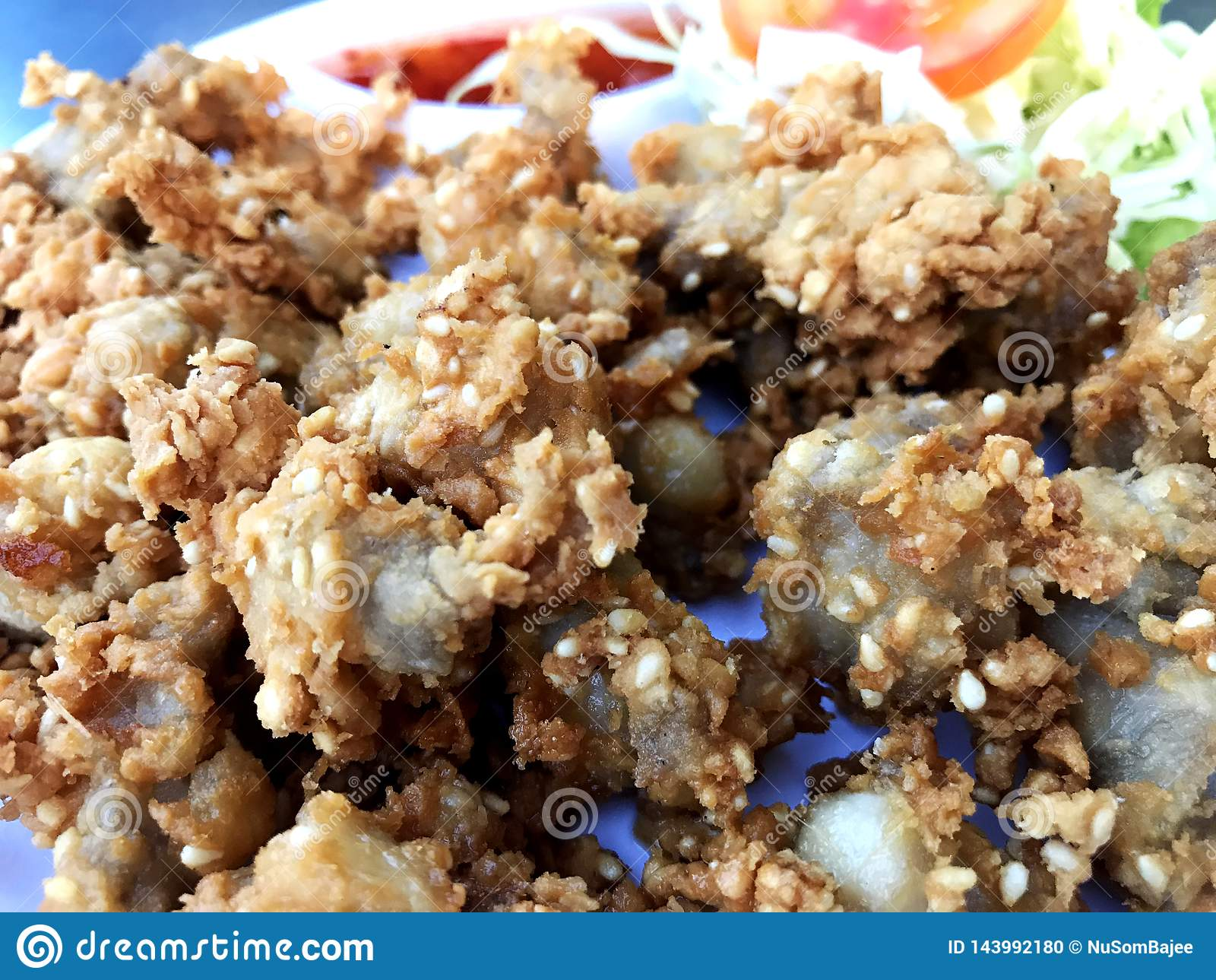 Crispy chicken tendon deep fried food