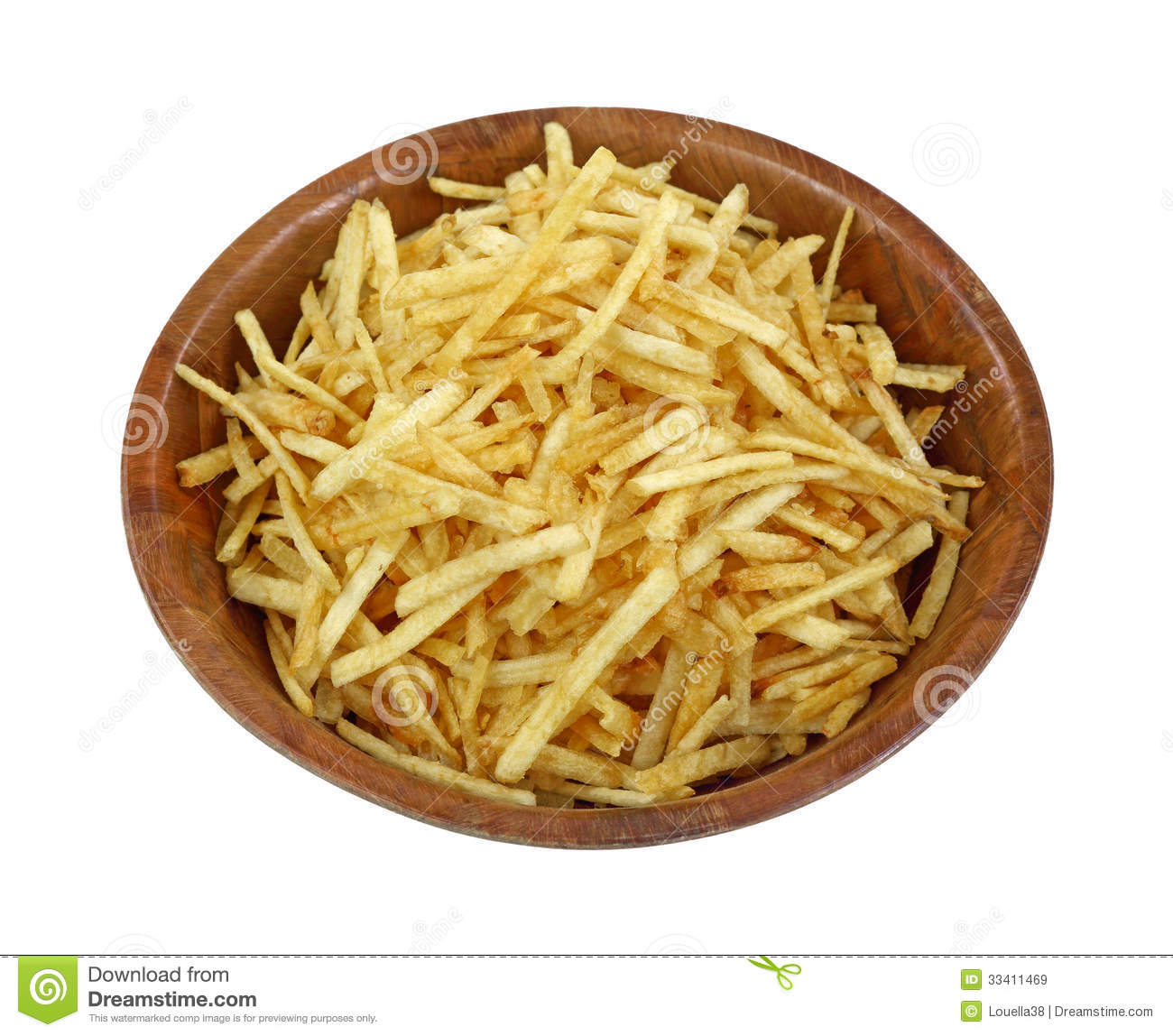 Crispy Fine Potato Sticks Wood Bowl