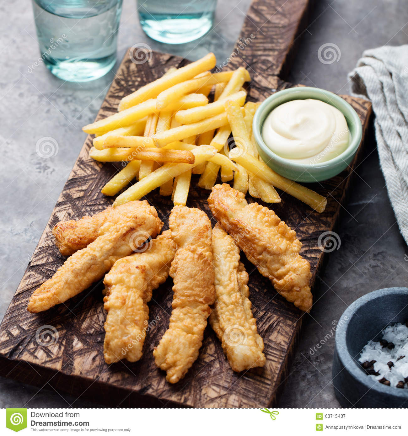 Crispy fish and chips tartar sauce british food stock for Fish and chips sauce