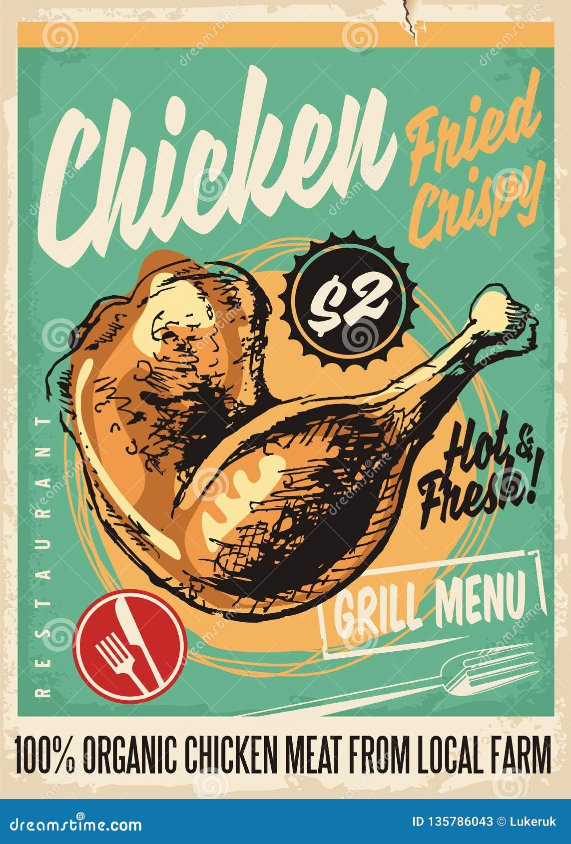 Crispy Fried Chicken Legs Retro Restaurant Menu Design Stock Vector Illustration Of Artistic Flyer 135786043