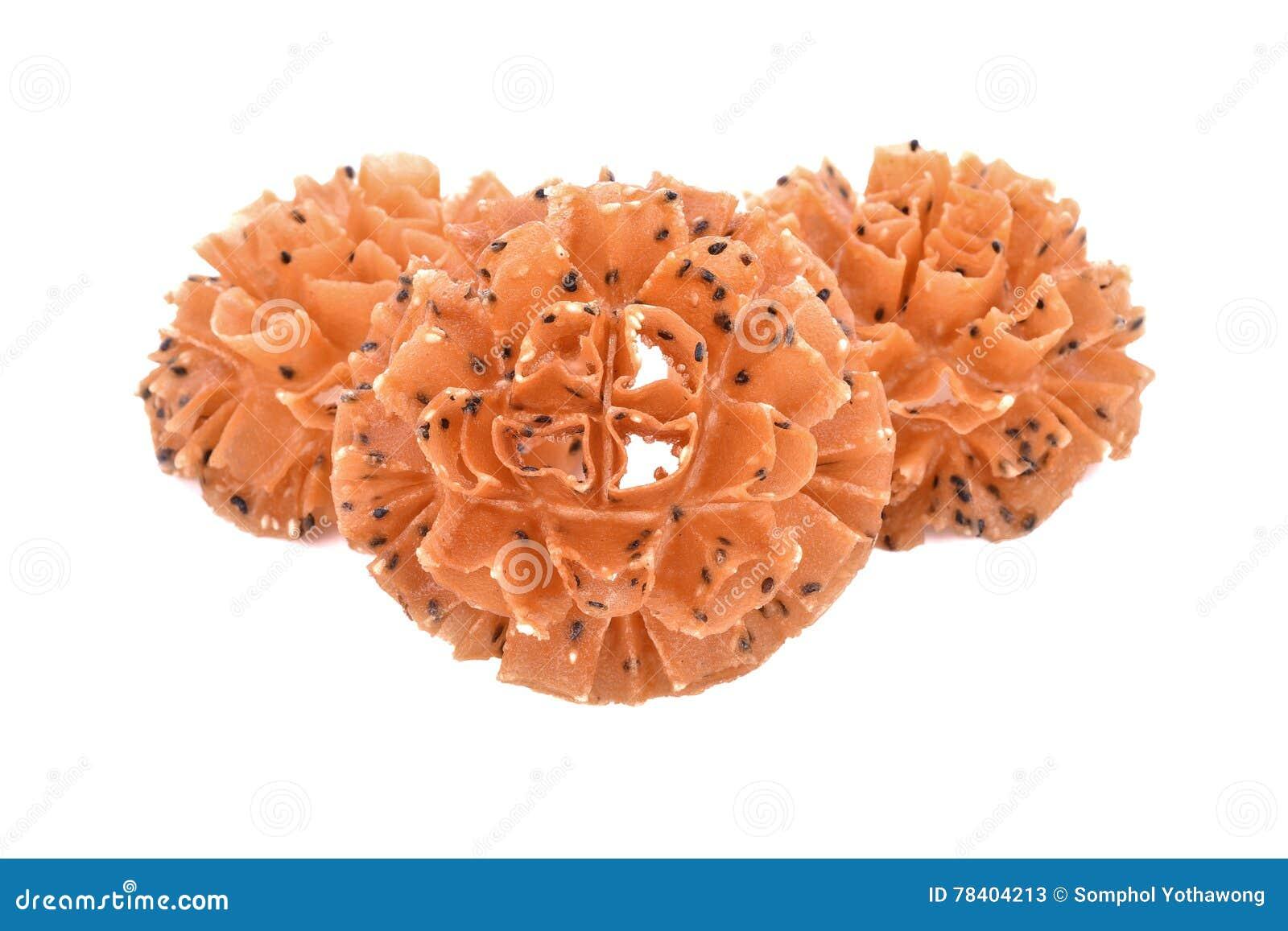 Crispy Lotus Blossom Cookiethai Cookies Isolate On White Back