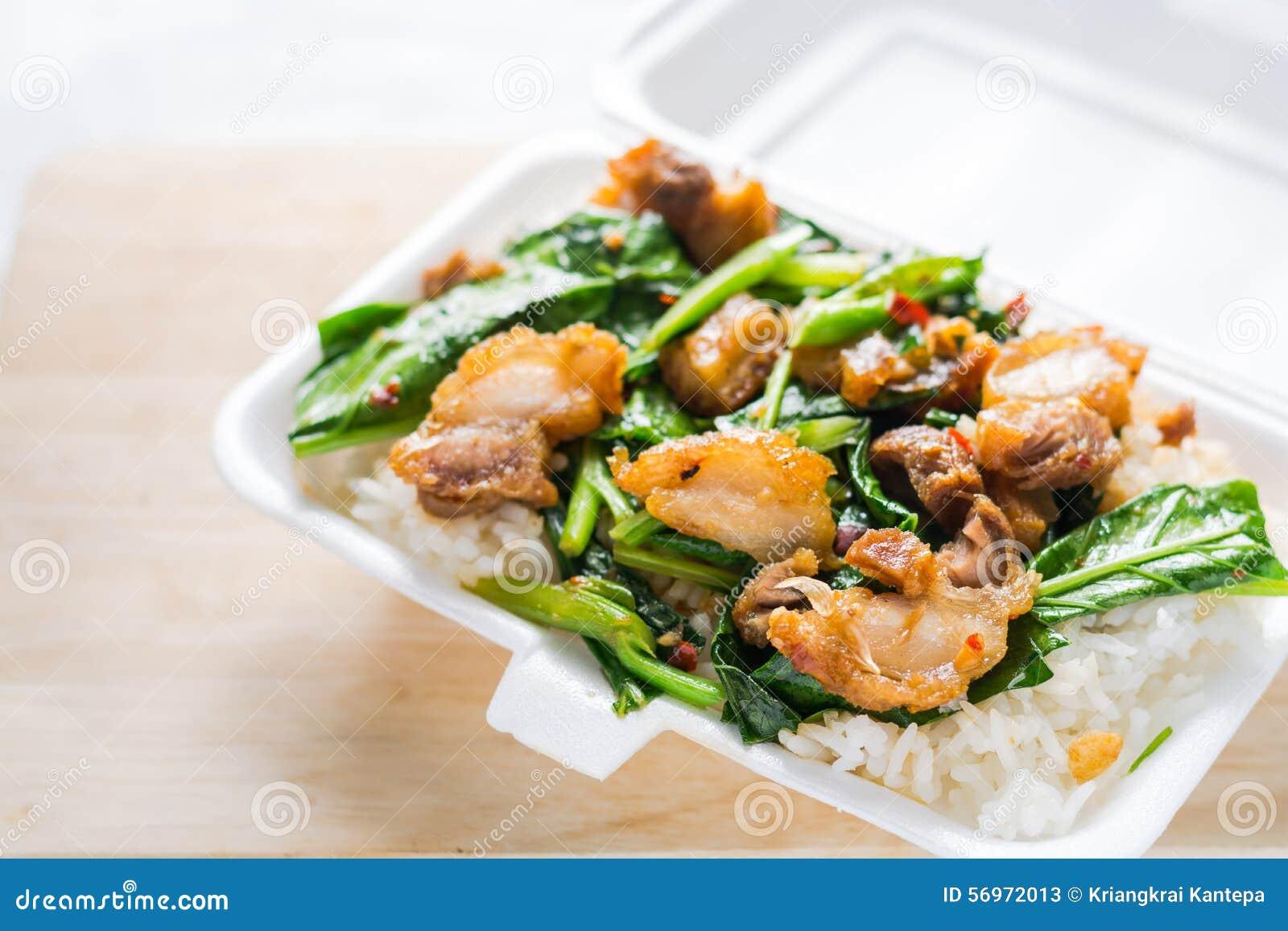 Crispy Pork Stir-fried Kale With Steamed Rice In Styrofoam ...