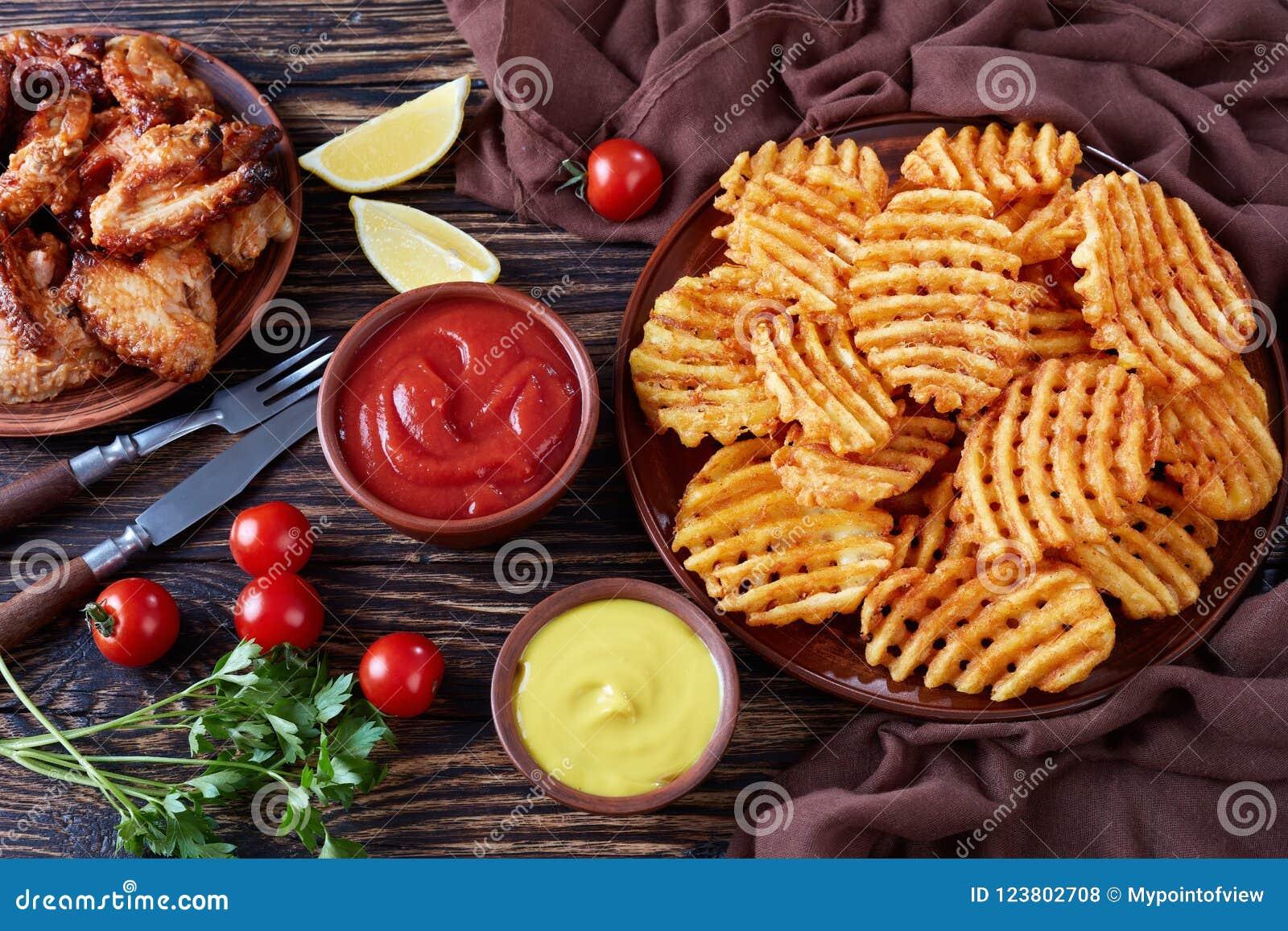 Crispy Potato Waffles Fries, Top View Stock Photo - Image of