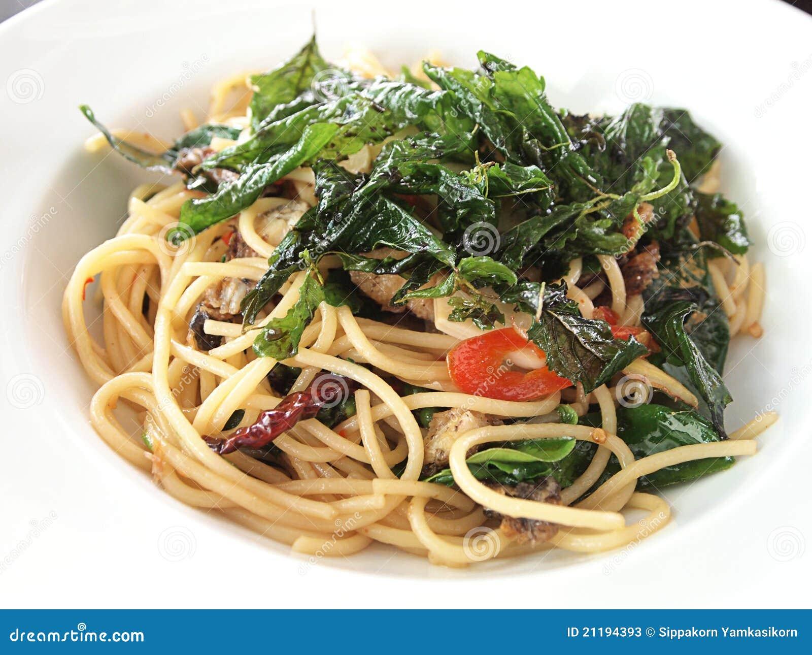 Crispy Salted Fish Spaghetti