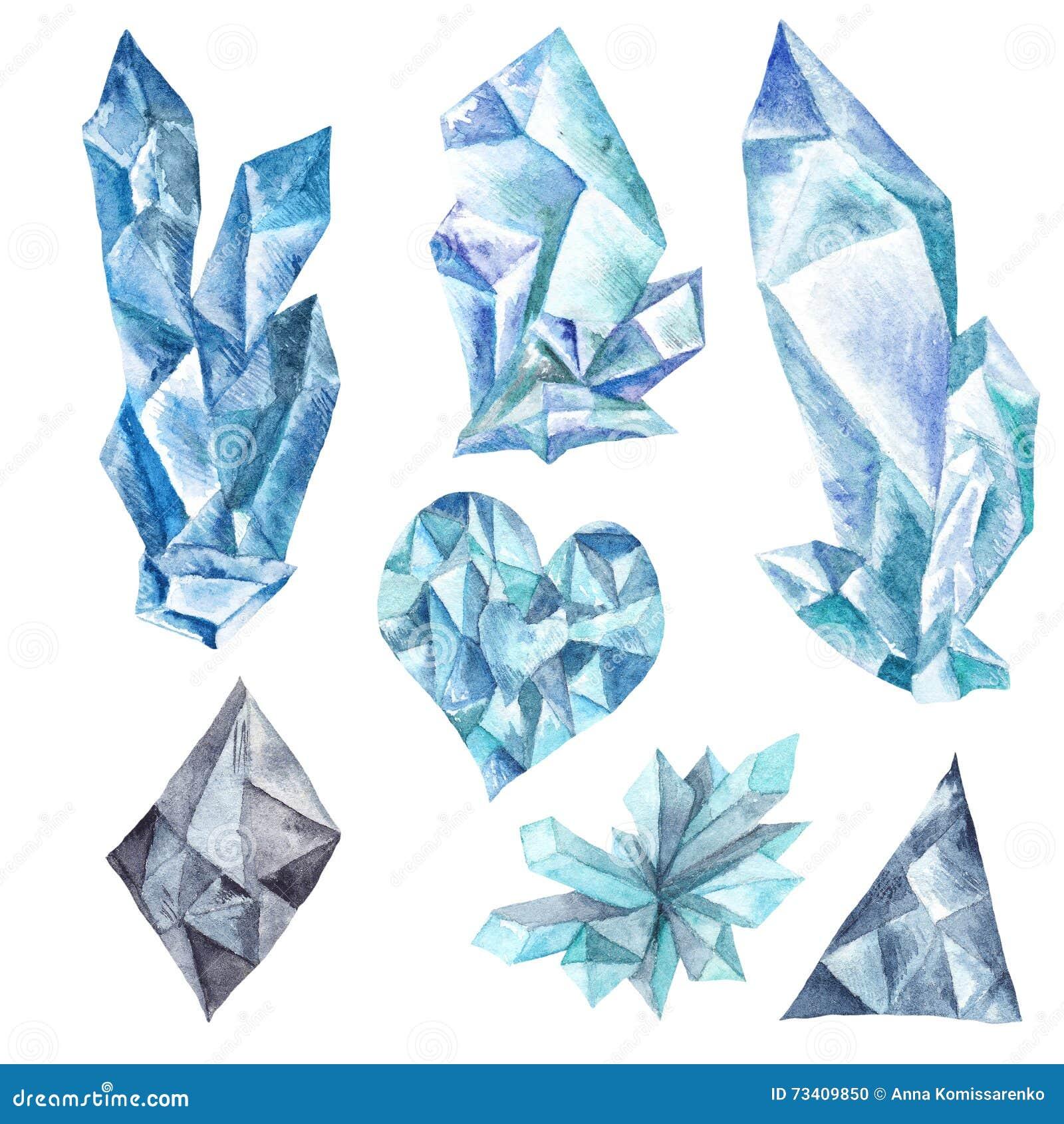 Cristais azuis da aquarela ajustados