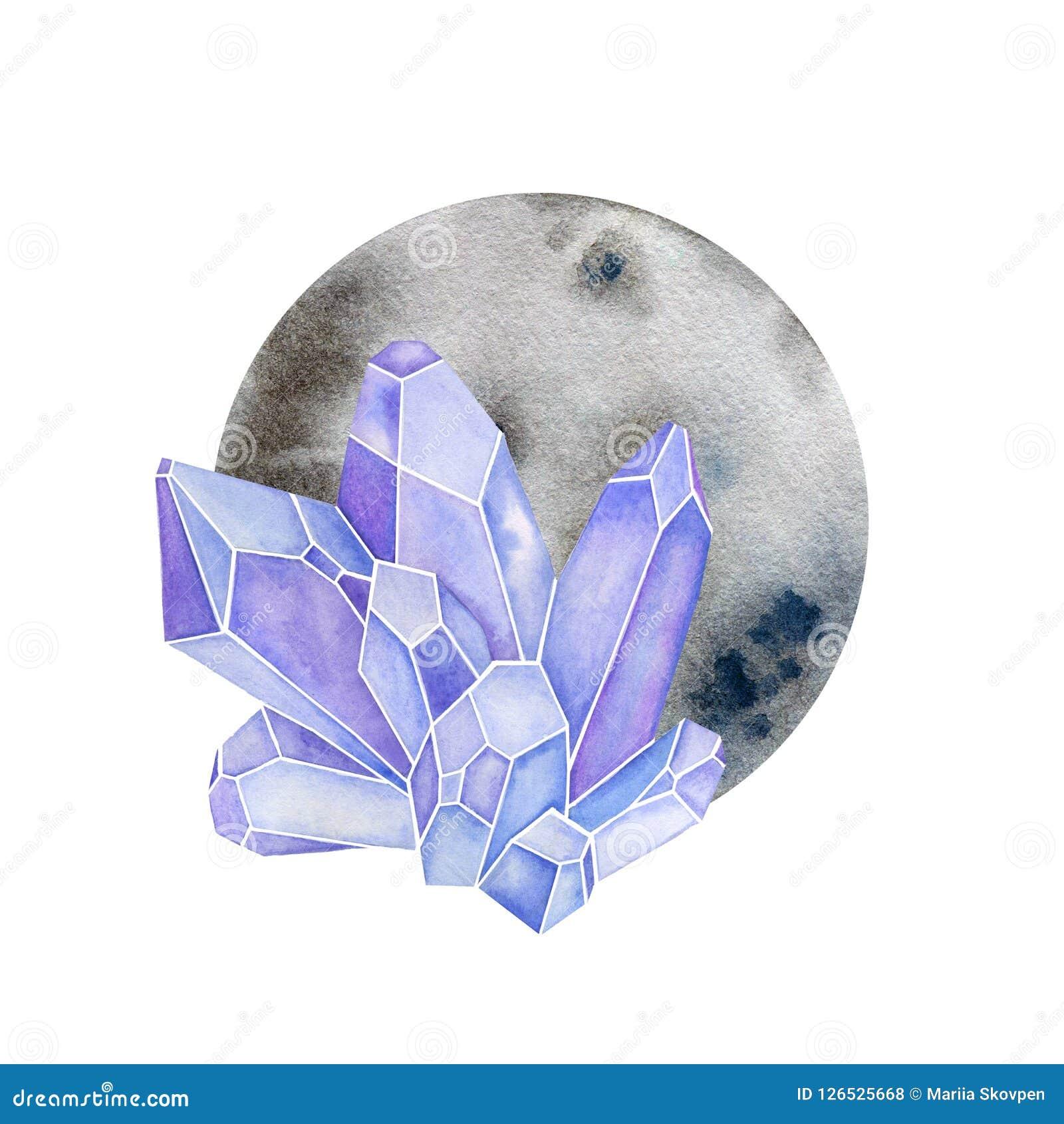 Cristais com forma do círculo Lua com as gemas no projeto da aquarela