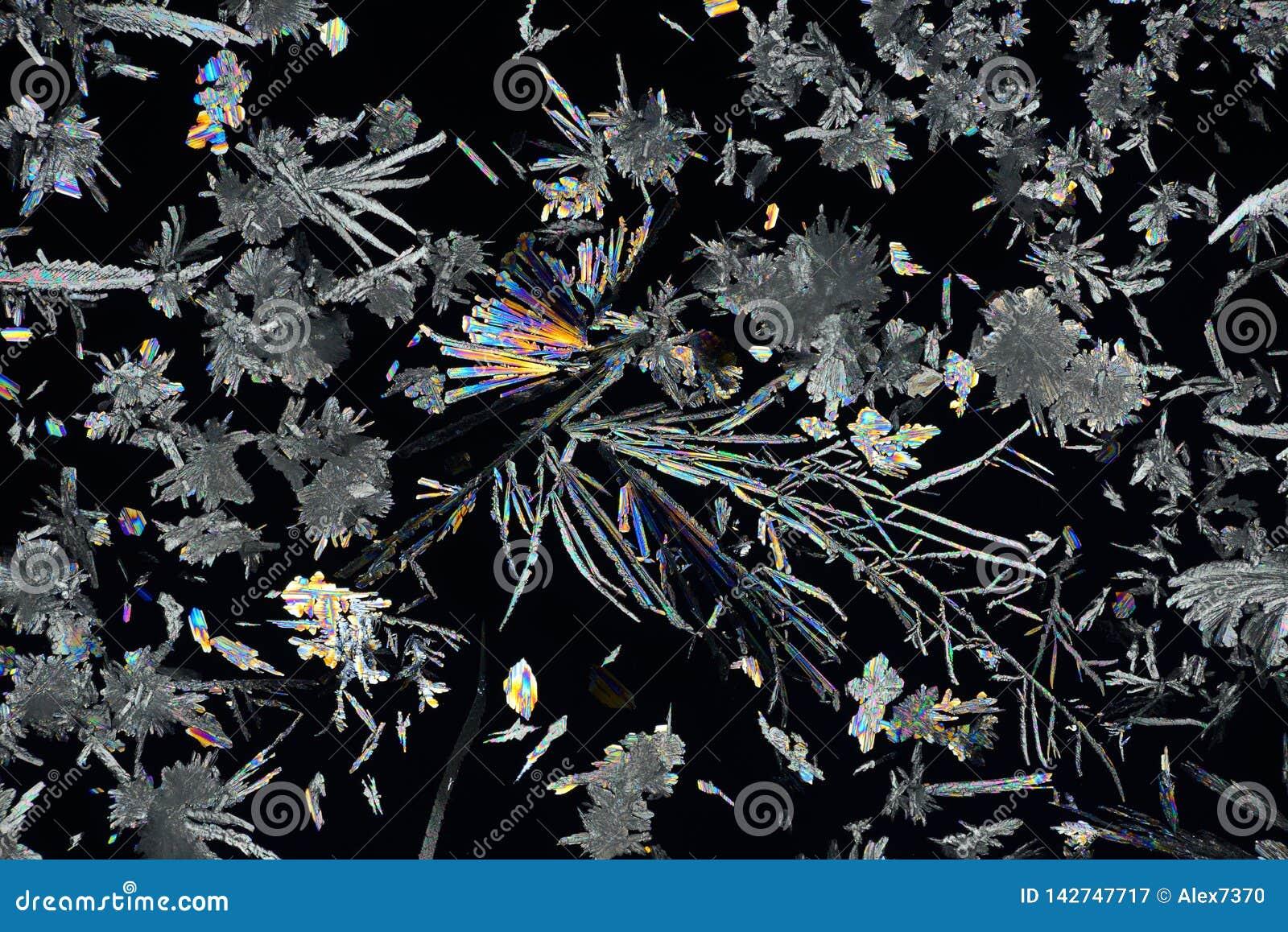 Cristales micro coloridos en luz polarizada Foto a trav?s de un microscopio