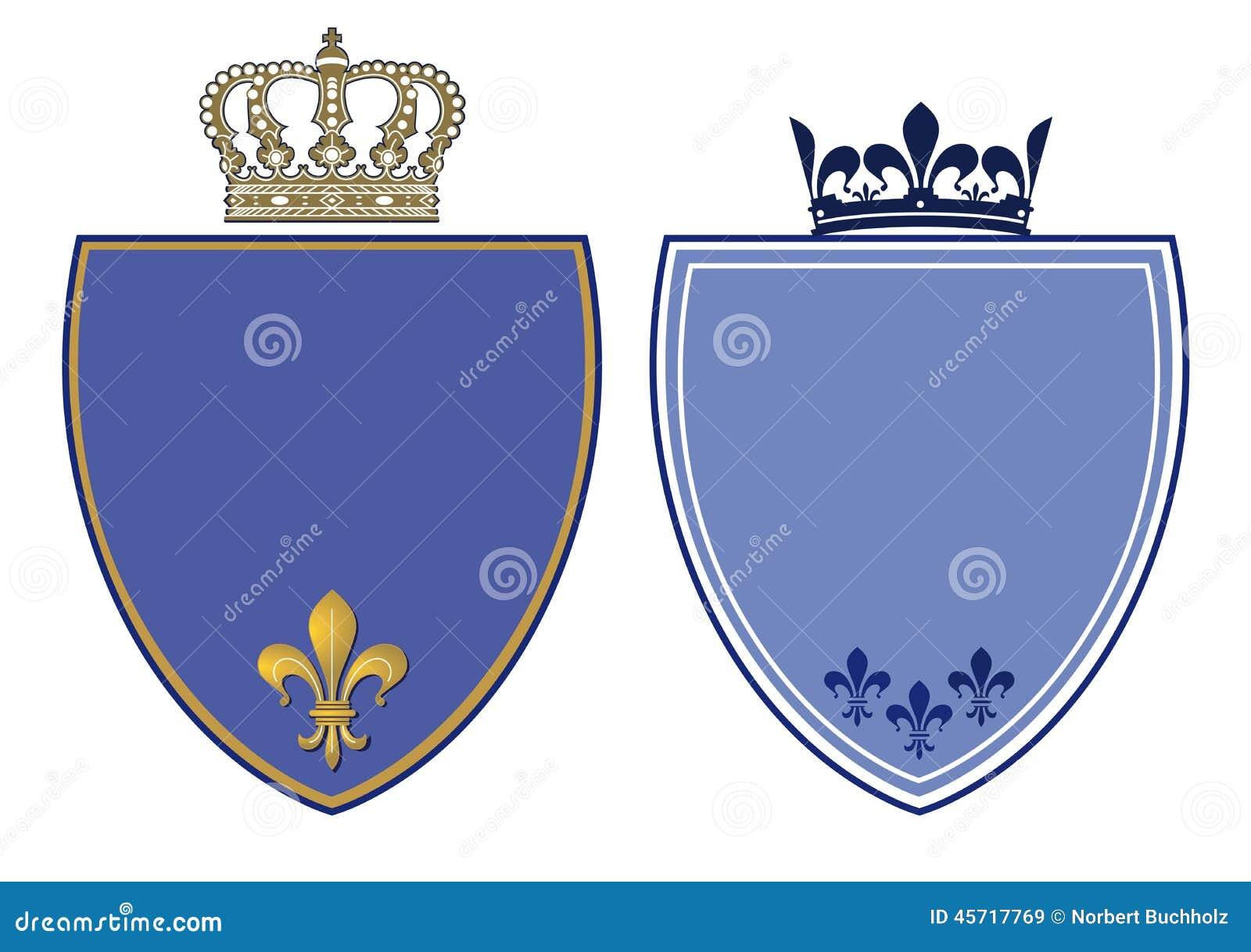Cristas azuis com coroas reais