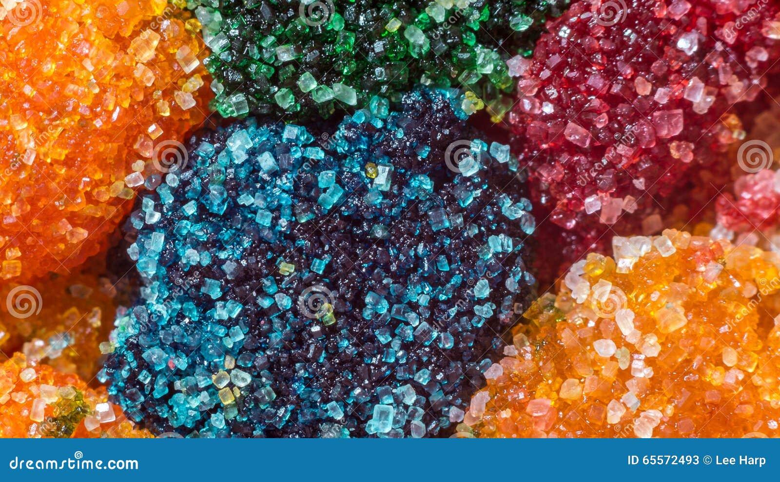 Cristaux de sucre colorés par macro