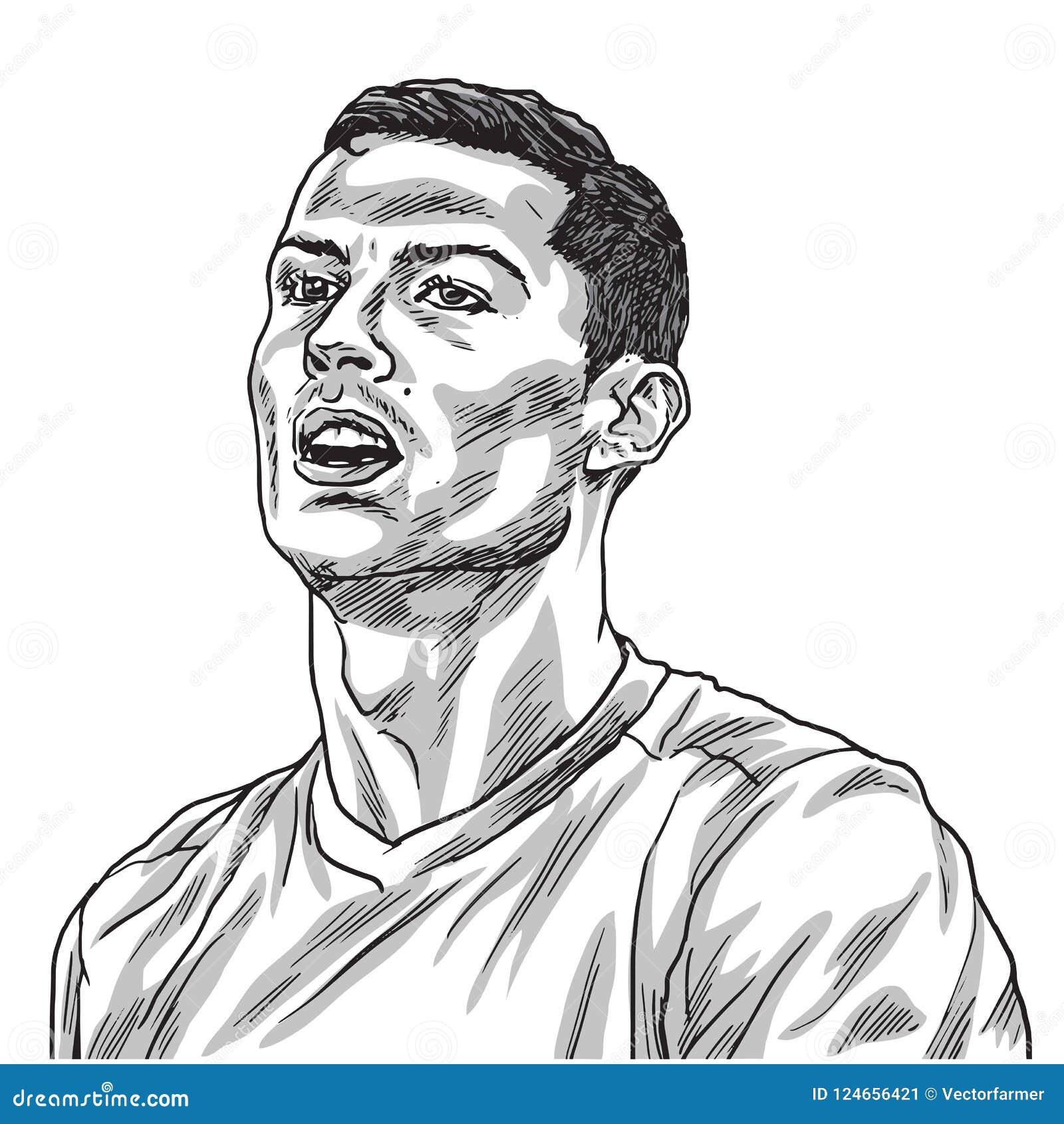cristiano ronaldo vector portrait drawing line