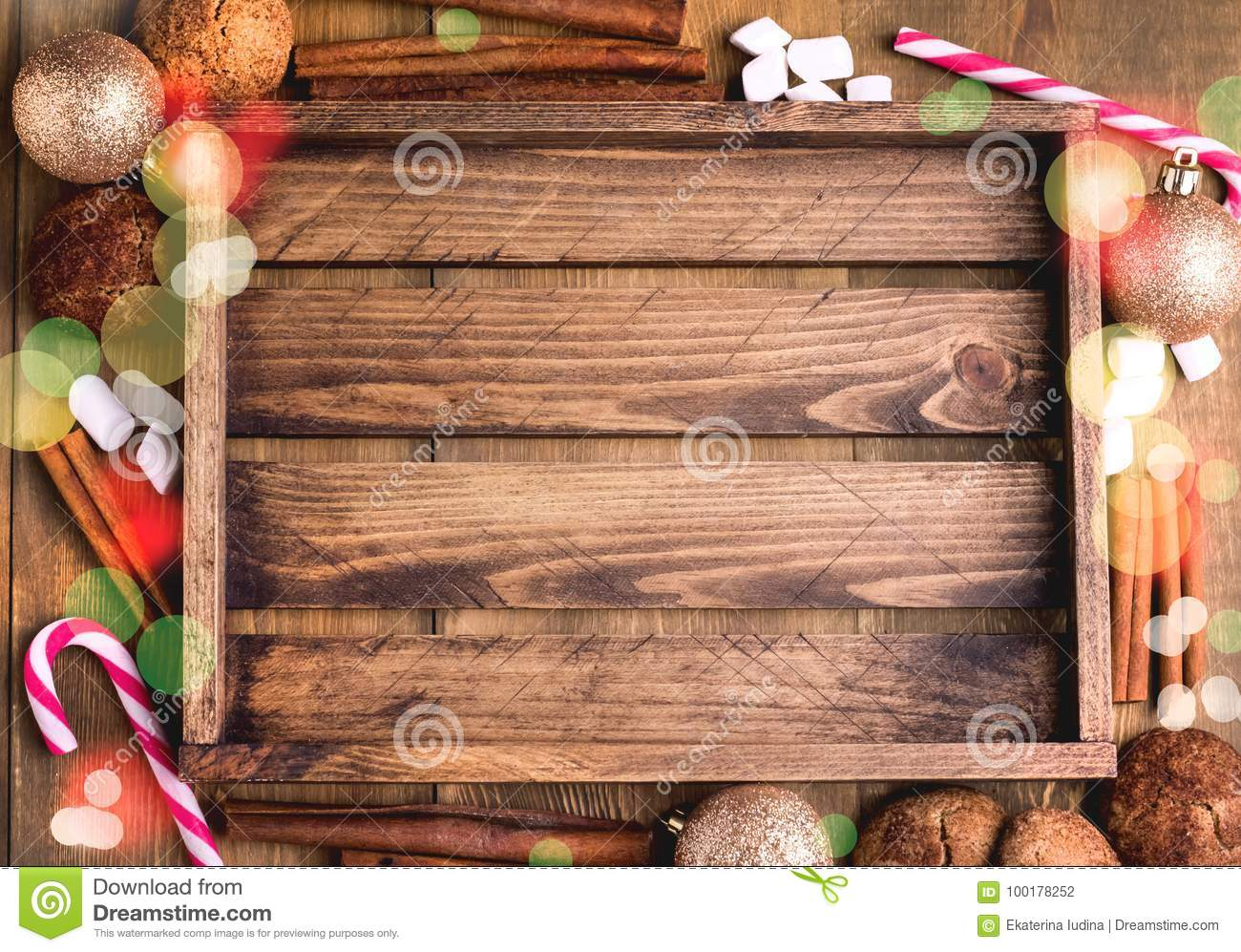 Cristmas Background With Place For Text Topp View Wooden Background