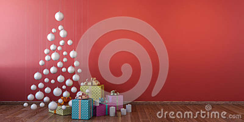 Cristmas interior with white balls, red wall mock up