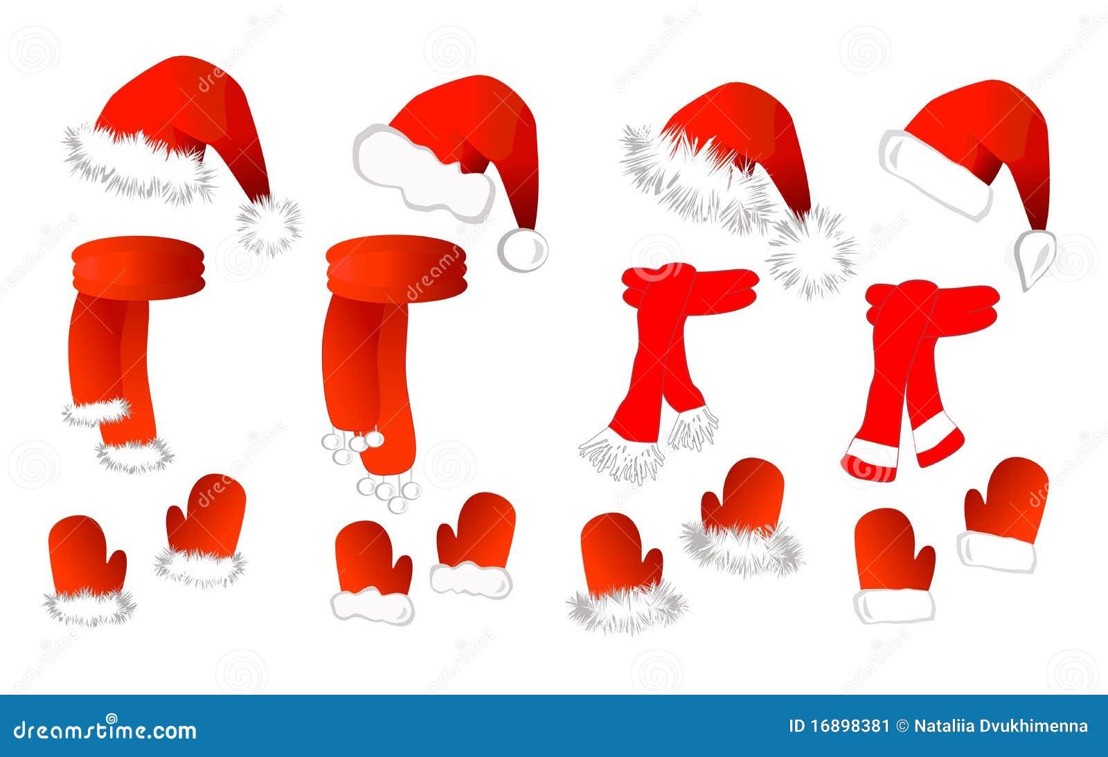 cristmas stellte ein weihnachtsmann hut schal und. Black Bedroom Furniture Sets. Home Design Ideas