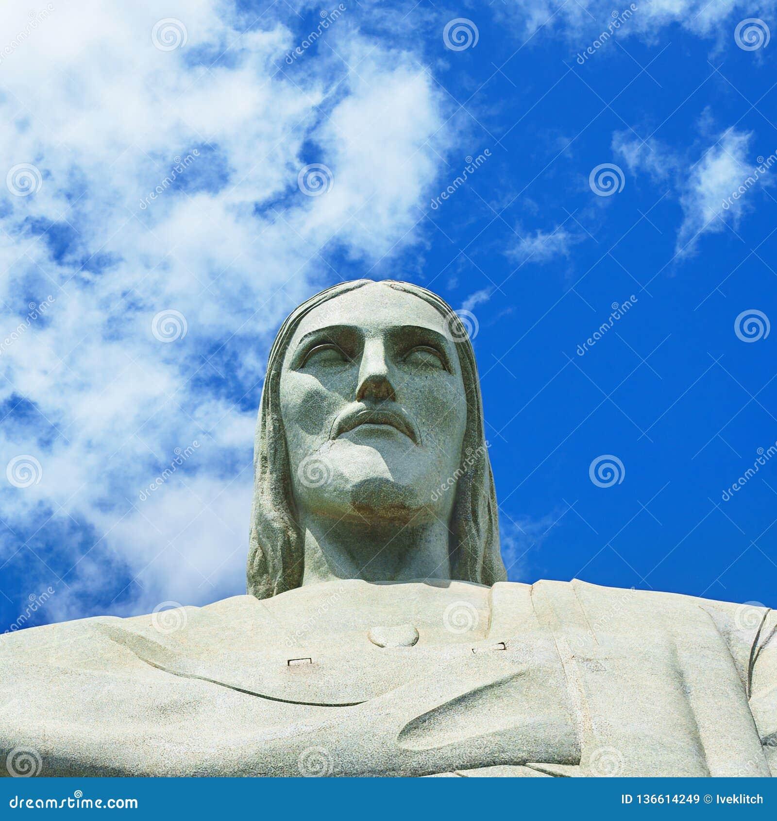 Cristo famoso el redentor en Rio de Janeiro, el Brasil Cara de Cristo el redentor