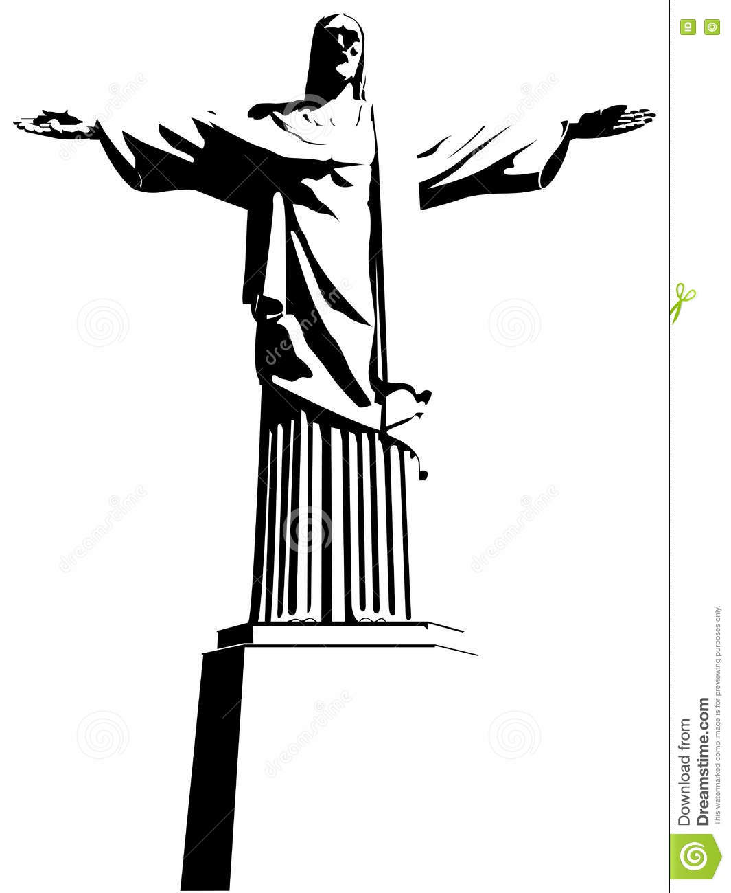 Cristo Redentor (Christ the Redeemer) in Rio de Janeiro / Brazil. Drawing in black and white.