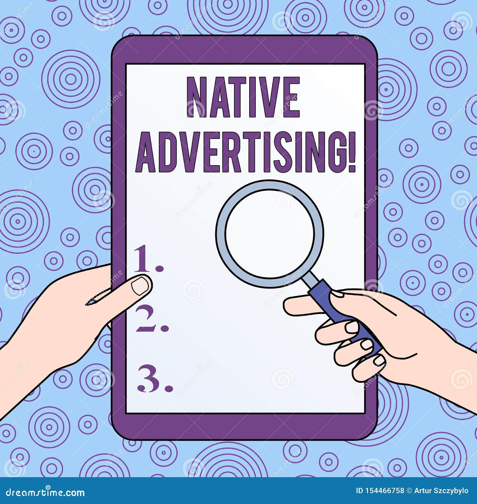 ?criture conceptuelle de main montrant la publicit? indig?ne La photo d affaires pr?sentant les annonces pay?es en ligne assortis