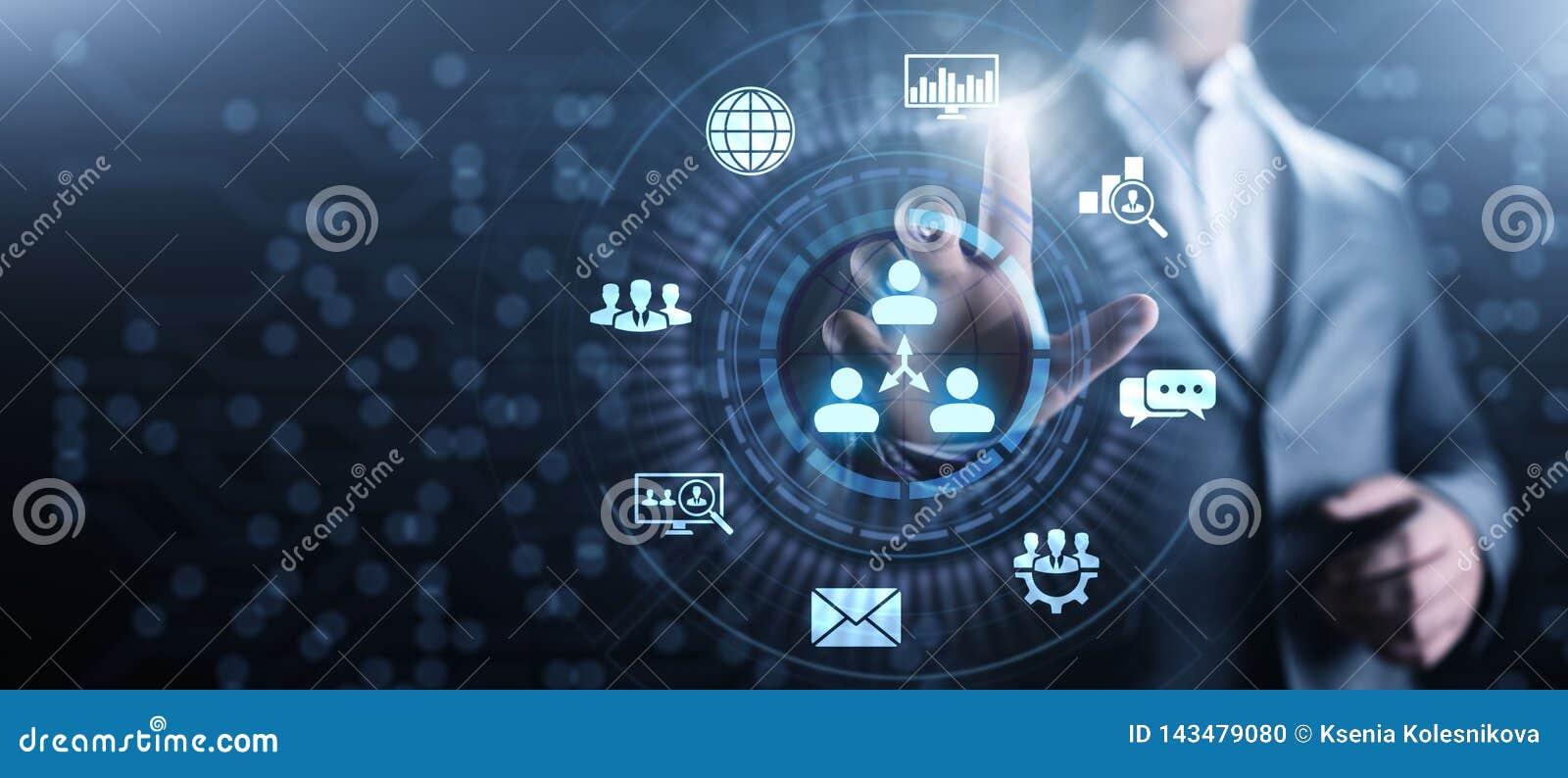 CRM - Abnehmer-Verh?ltnis-Management Unternehmenskommunikations- und -planungs-Software-Konzept