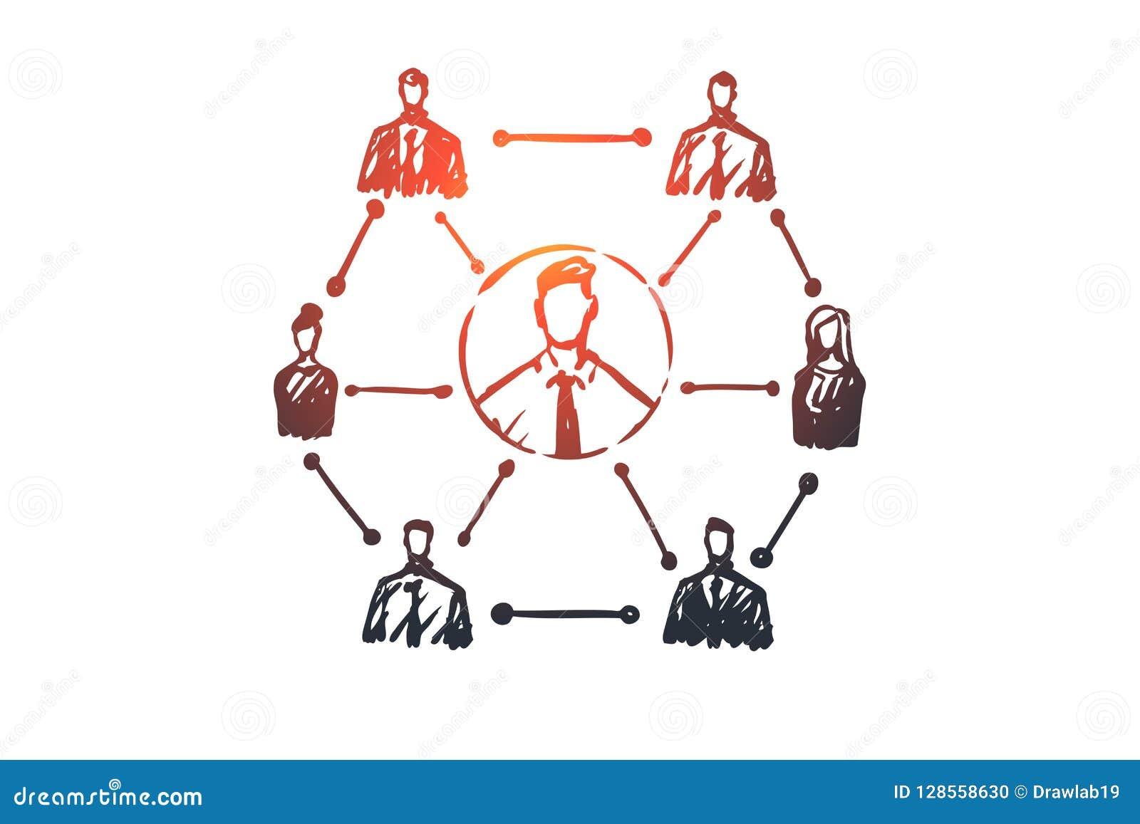 CRM, cliente, affare, analisi, concetto commercializzante Vettore isolato disegnato a mano