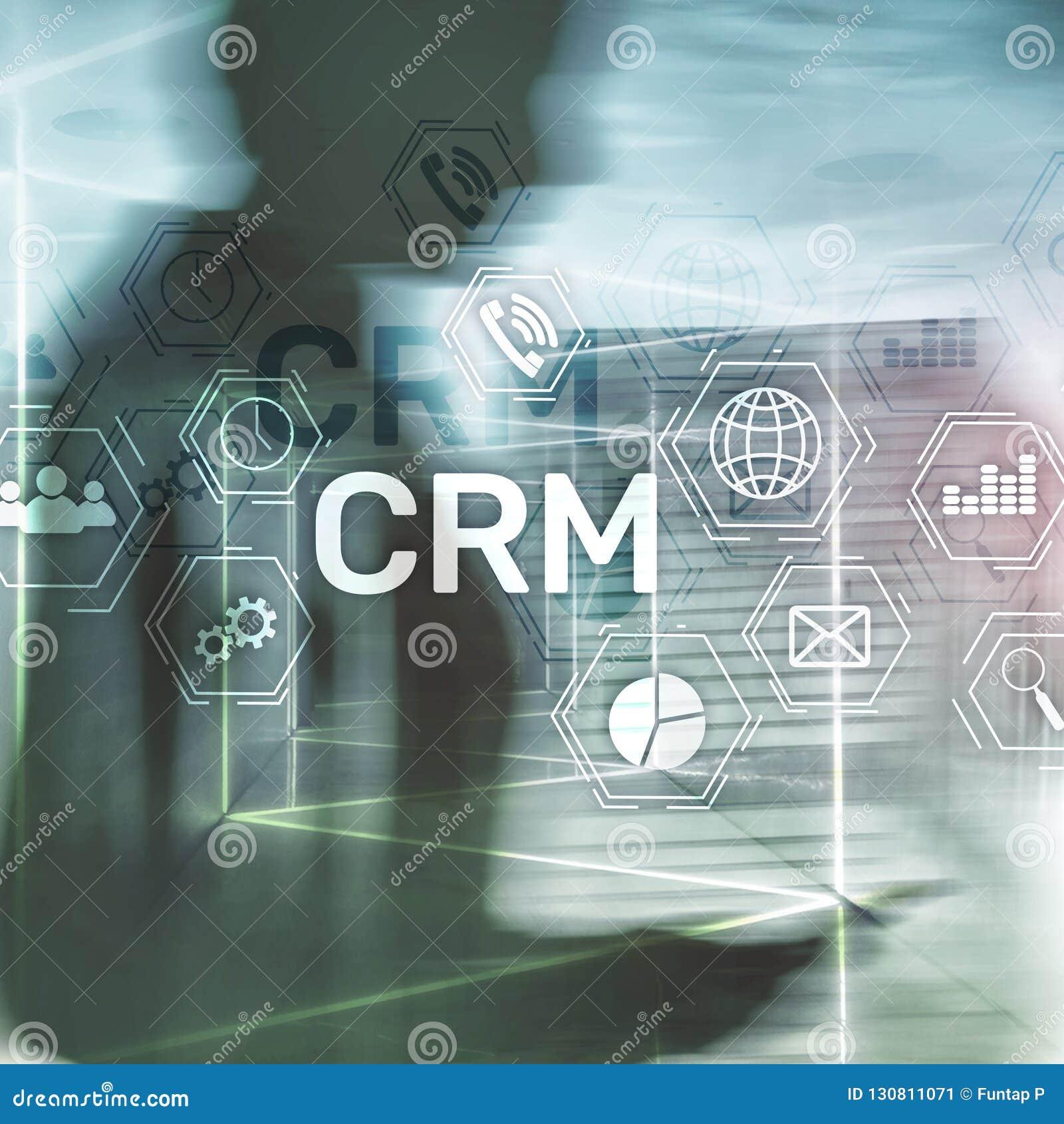 CRM, conceito de sistema do gerenciamento de relacionamento com o cliente no sumário borrou o fundo