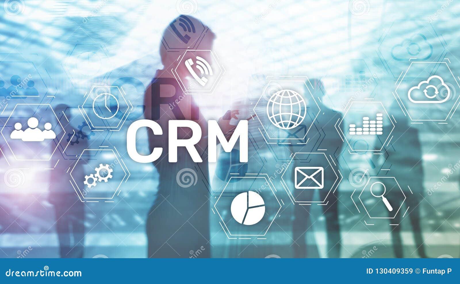 CRM, concepto de sistema de gestión de la relación del cliente en extracto empañó el fondo