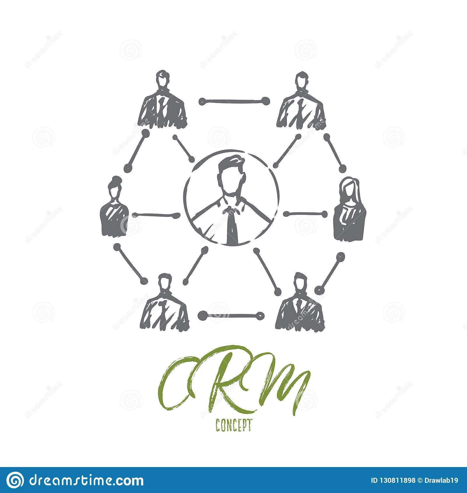 CRM, customer, business, analysis, marketing concept. Hand drawn isolated vector.