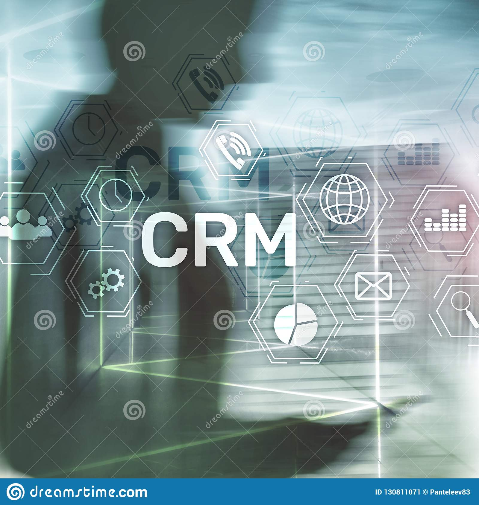 CRM, Customer relationship management system concept on abstract blurred background