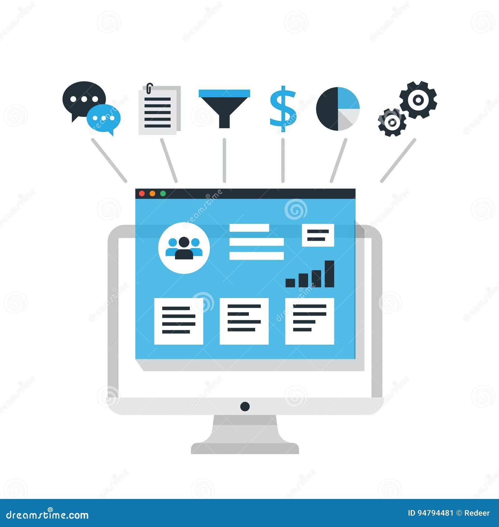 CRM-Konzeptdesign mit Elementen Flache Ikonen des Rechnungssystems, Kunden, Unterstützung, Abkommen Organisation von Daten bezügl