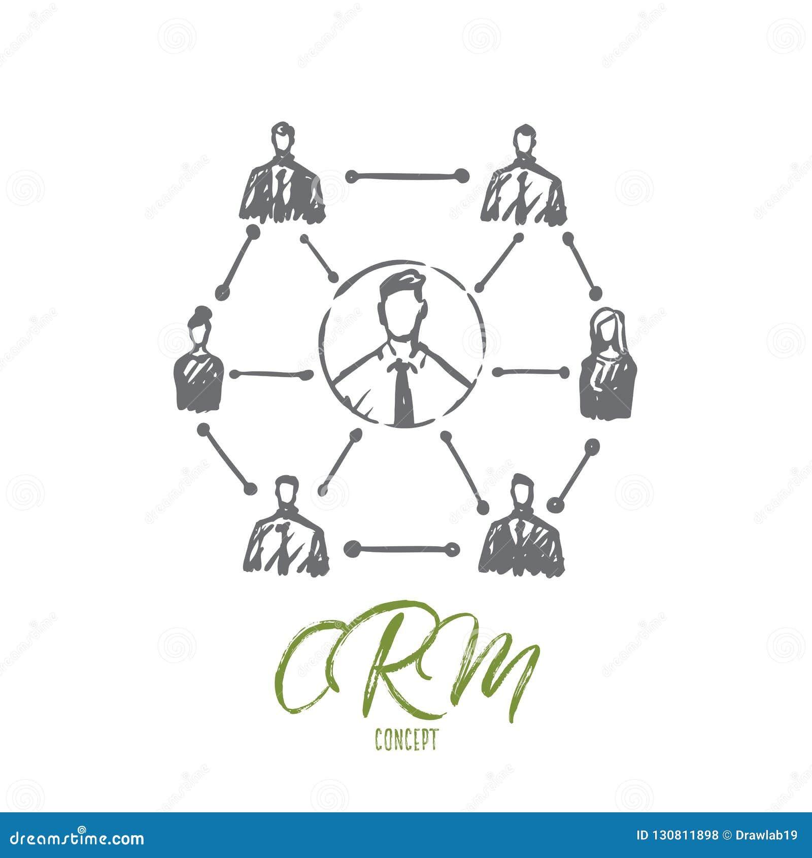CRM, Kunde, Geschäft, Analyse, vermarktendes Konzept Hand gezeichneter lokalisierter Vektor