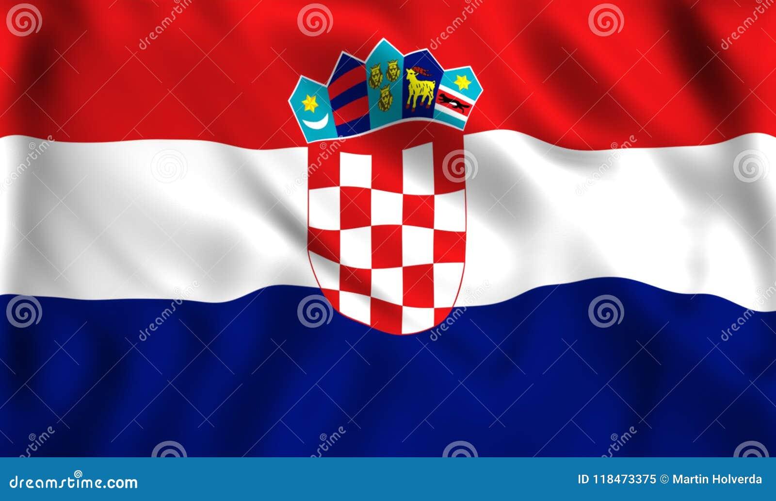 Croatia Flag Waving In The Wind Symbol Of Croatia Country Stock