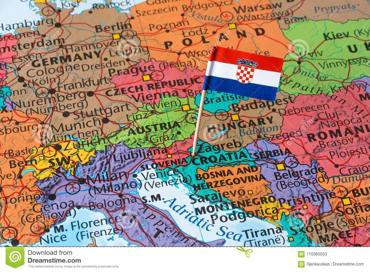 Croatia Flag On A World Map Stock Image - Image of geography ...