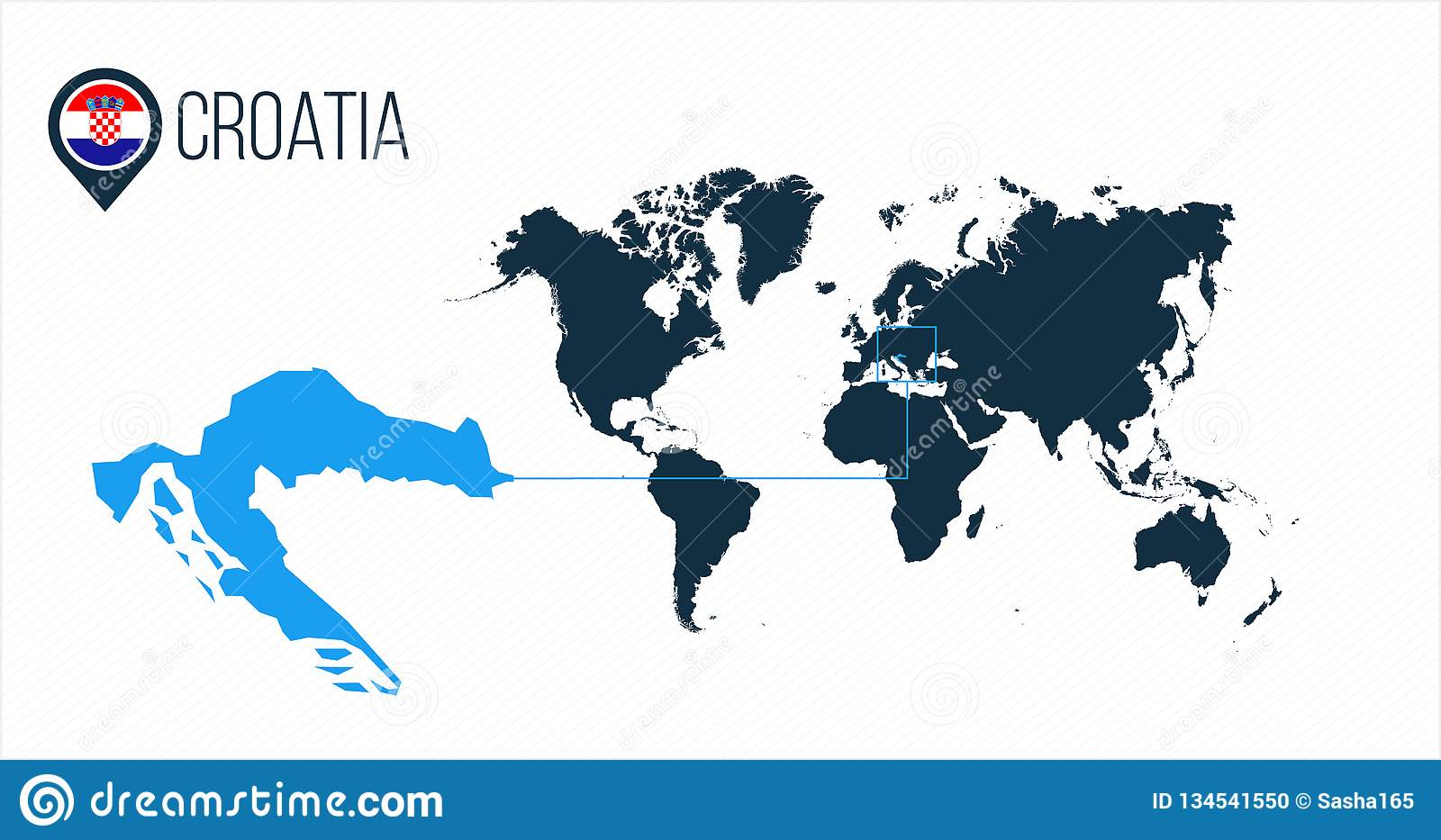 Croatia Location On The World Map For Infographics. All World ...