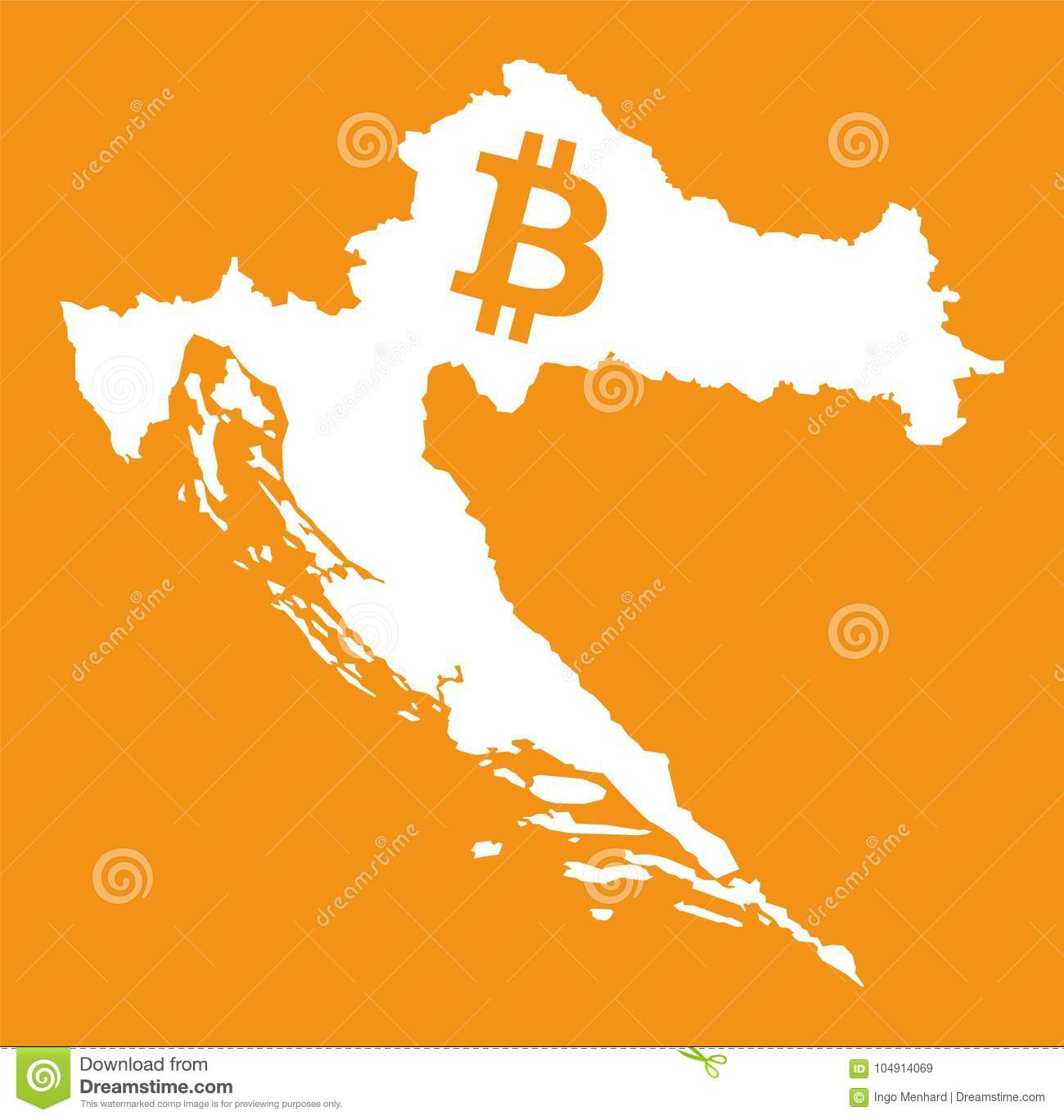 Croatia Map With Bitcoin Crypto Currency Symbol Illustration Stock